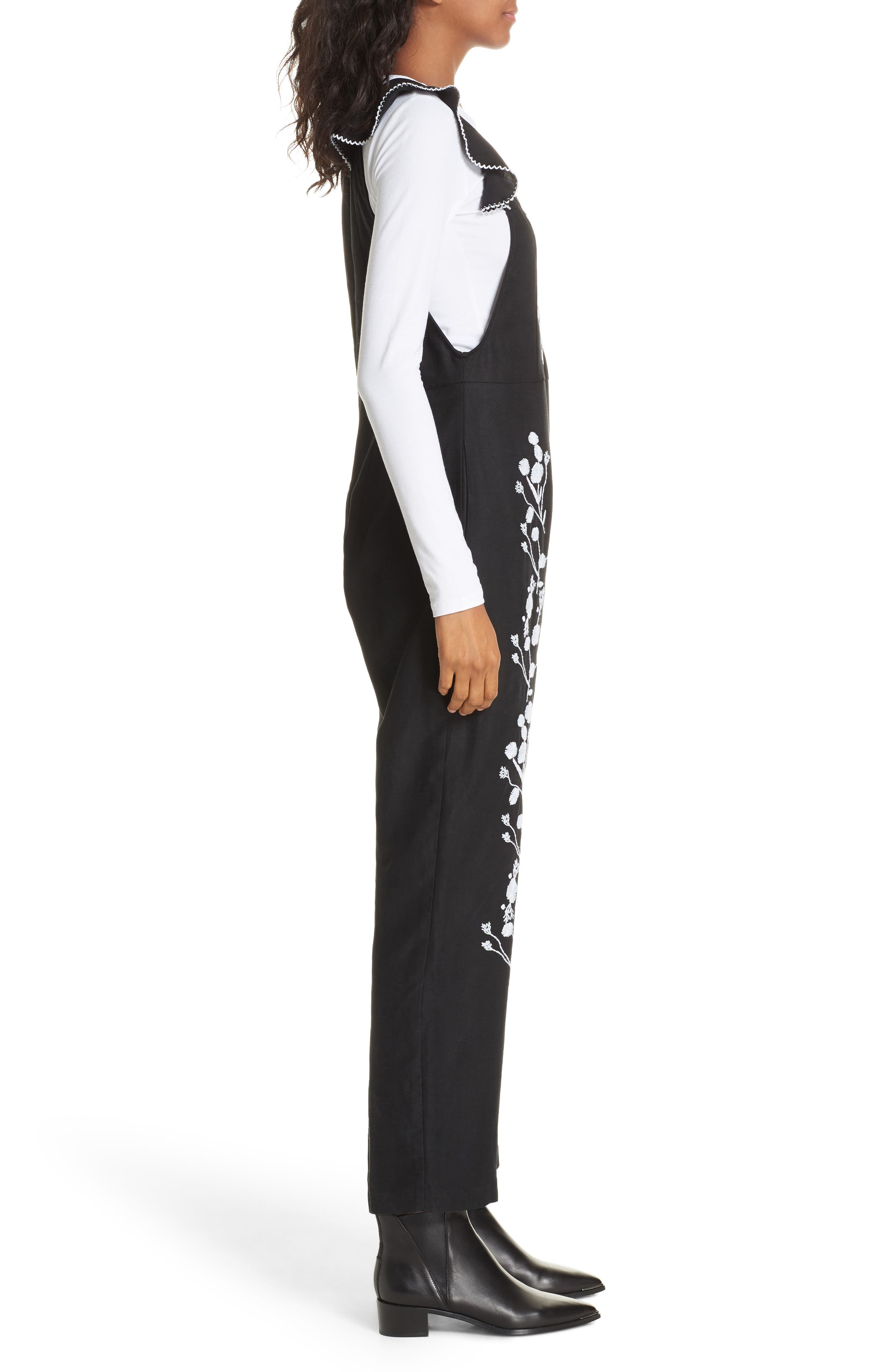 Flounced Embroidered Jumpsuit,                             Alternate thumbnail 4, color,                             BLACK