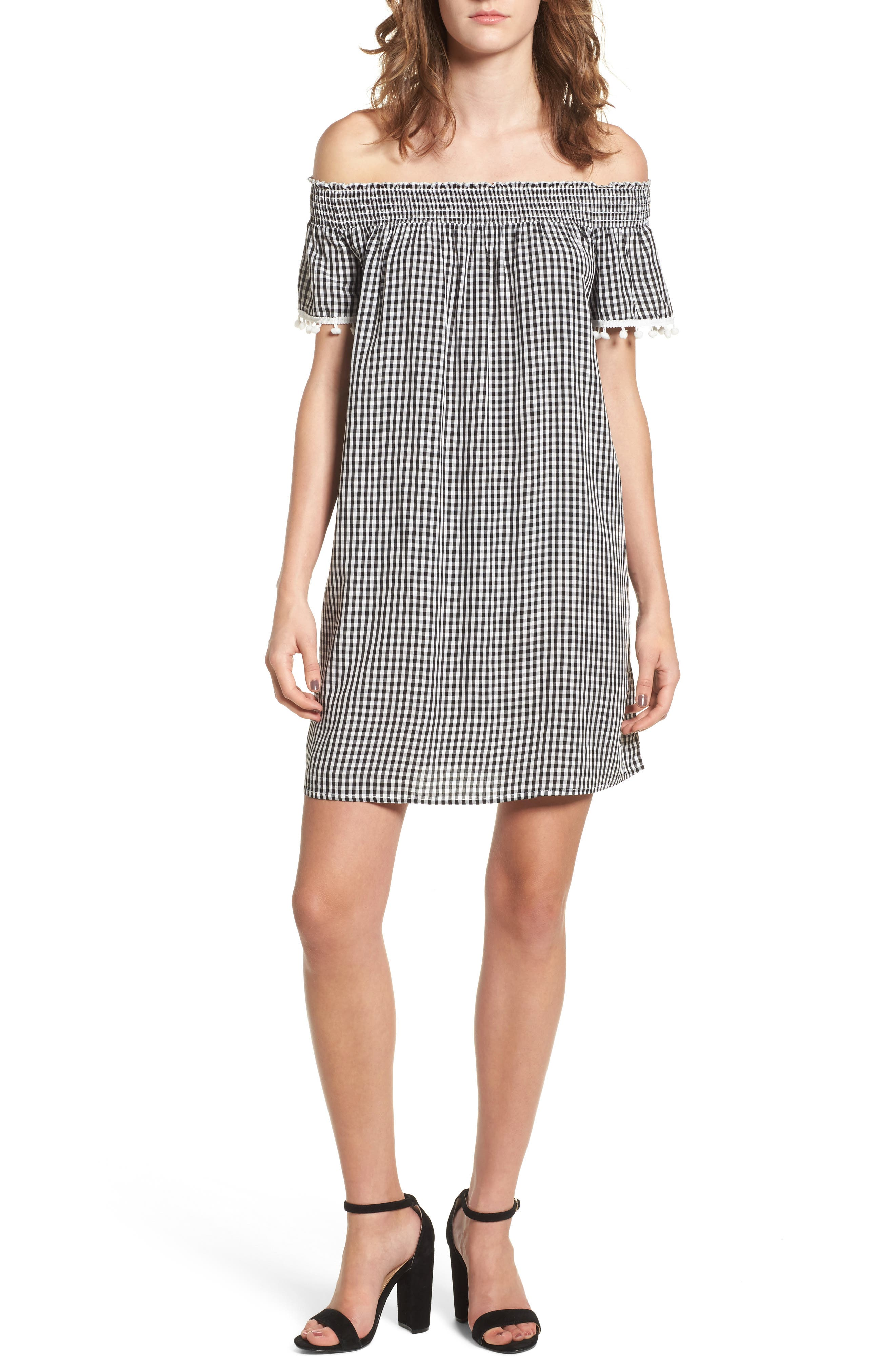Off the Shoulder Gingham Dress,                             Main thumbnail 1, color,