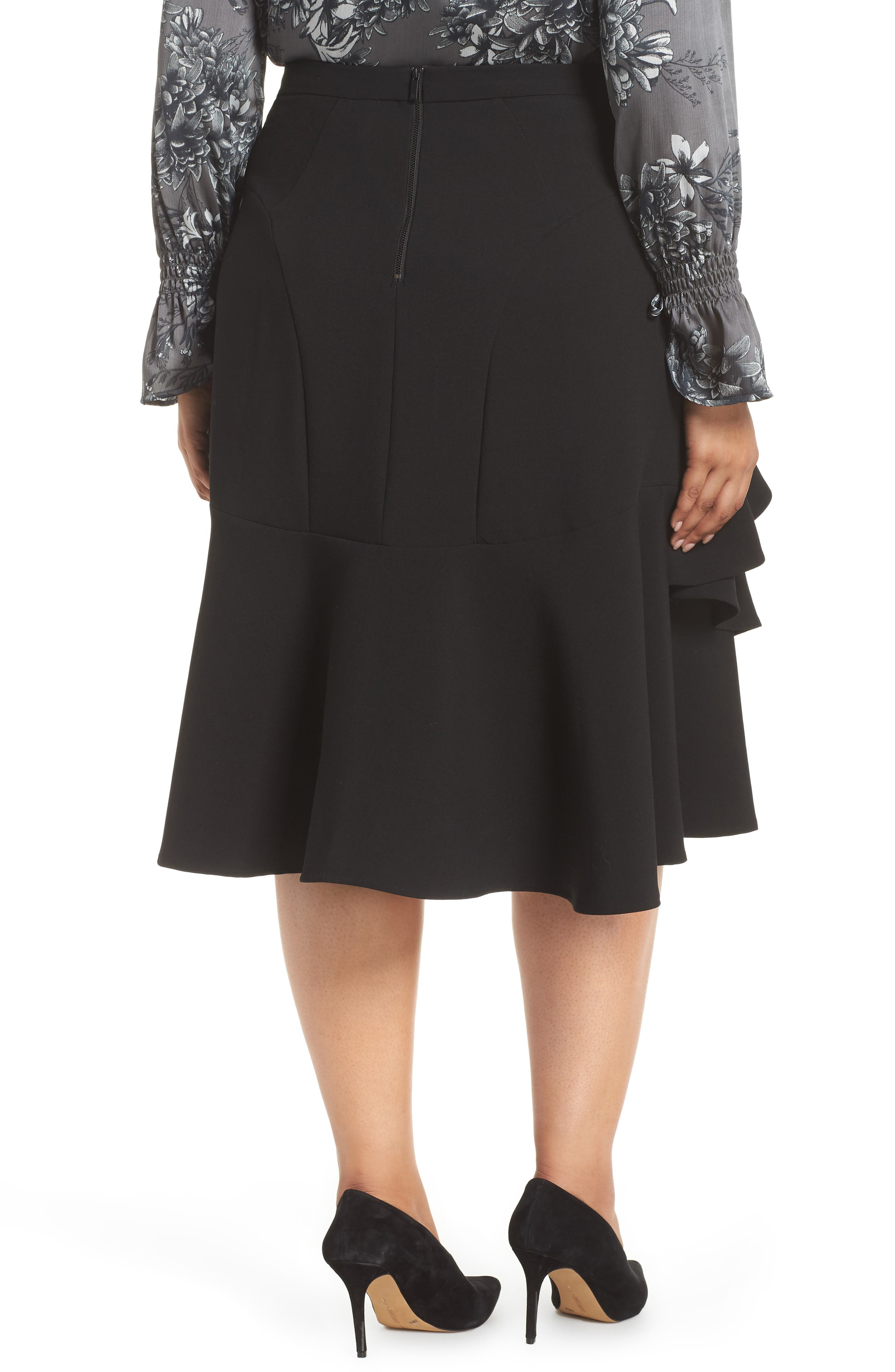 Tiered Ruffle Crepe Skirt,                             Alternate thumbnail 2, color,                             RICH BLACK