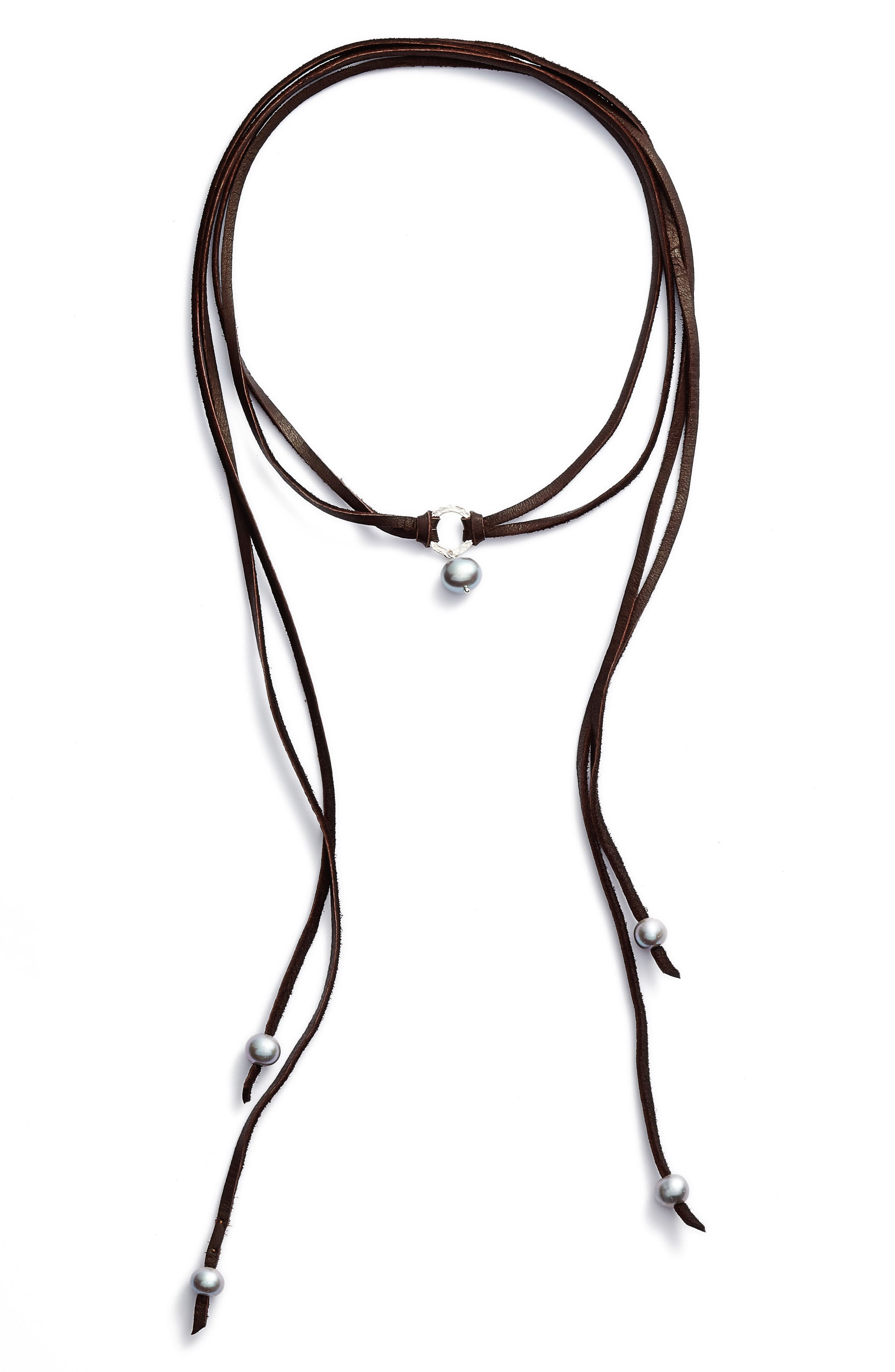 Pearl & Leather Wrap Necklace,                         Main,                         color, 020