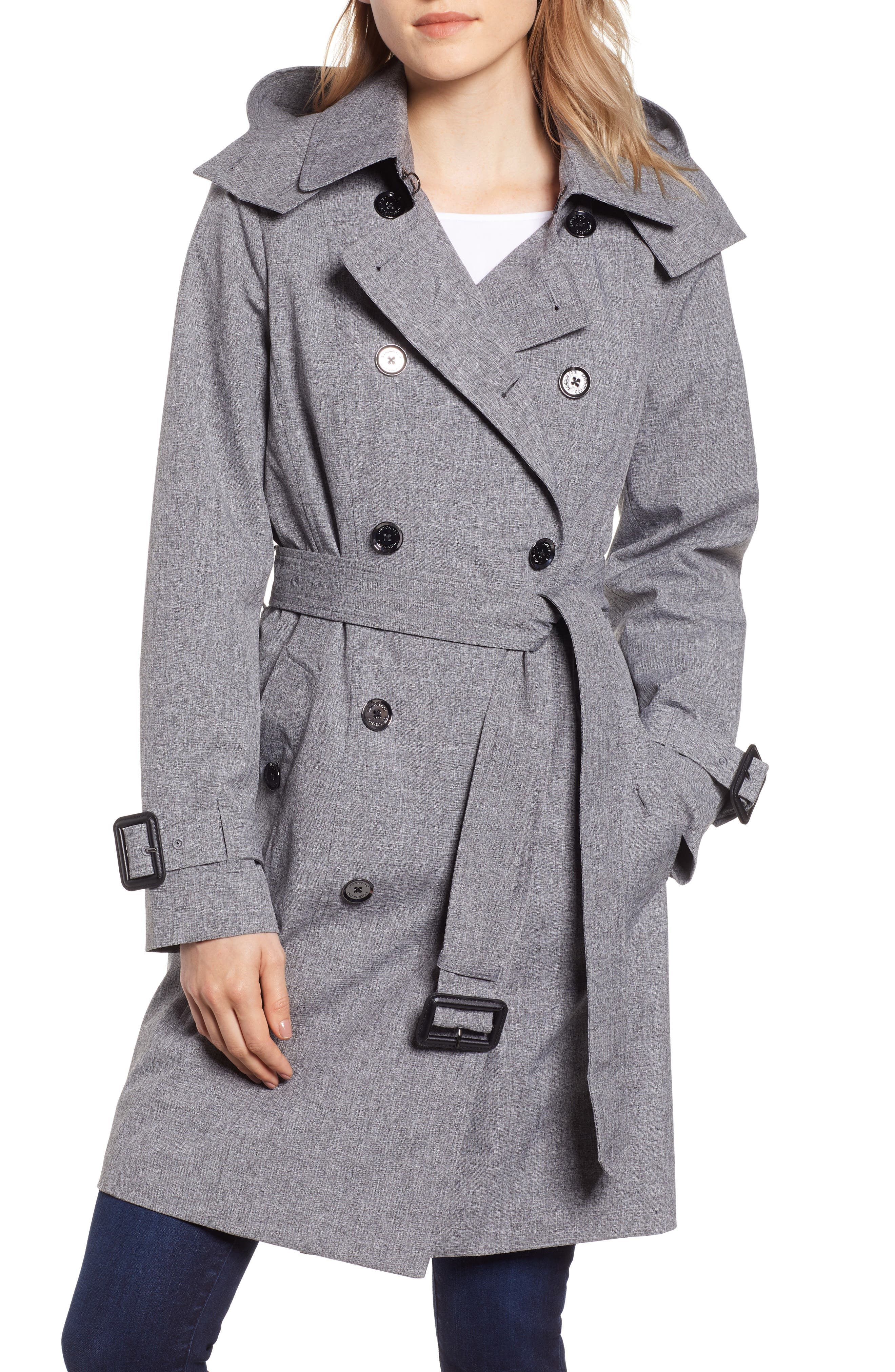 Double Breasted Trench Coat, Main, color, CHARCOAL