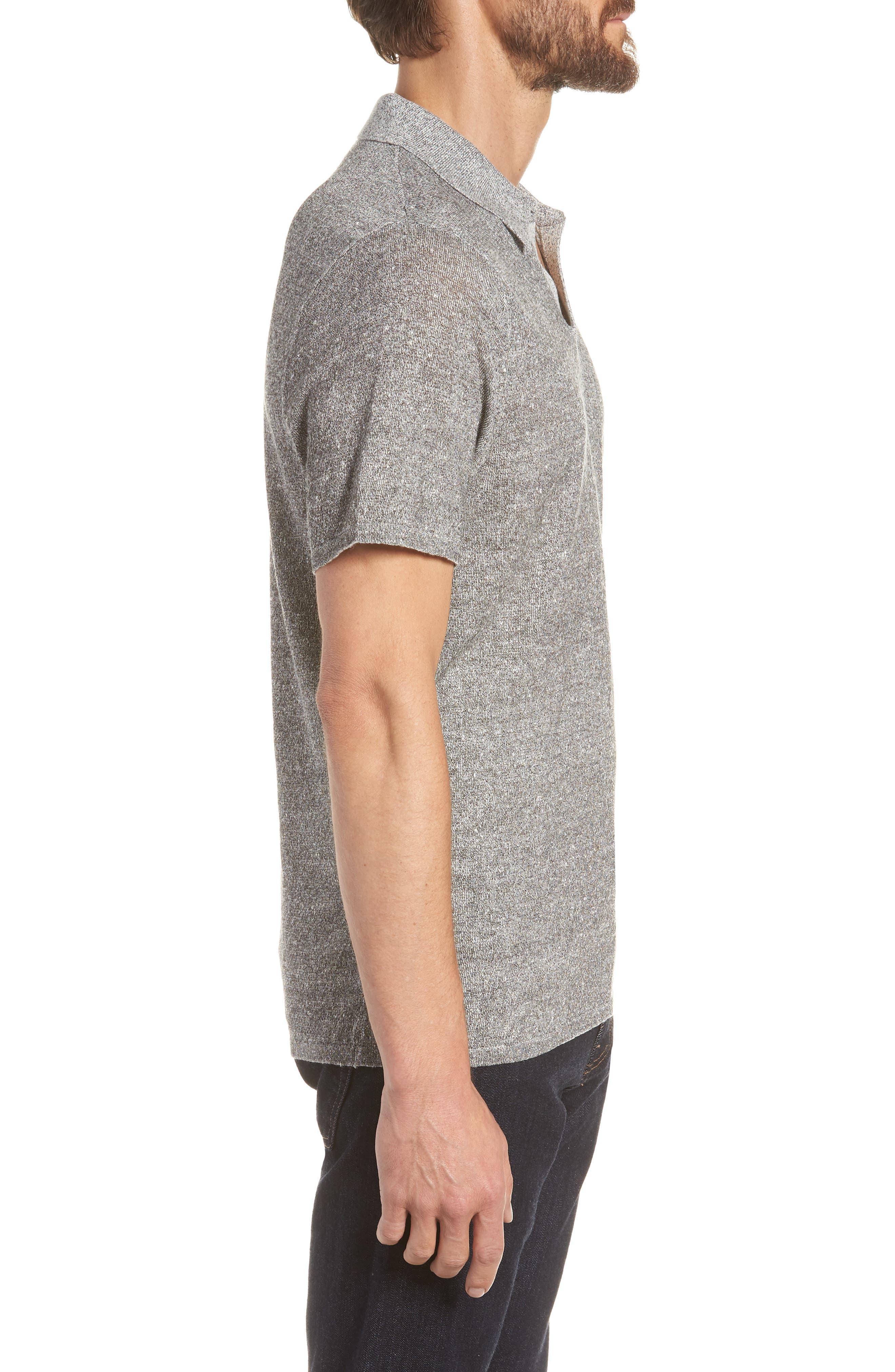 Linen Blend Polo Shirt,                             Alternate thumbnail 3, color,                             020