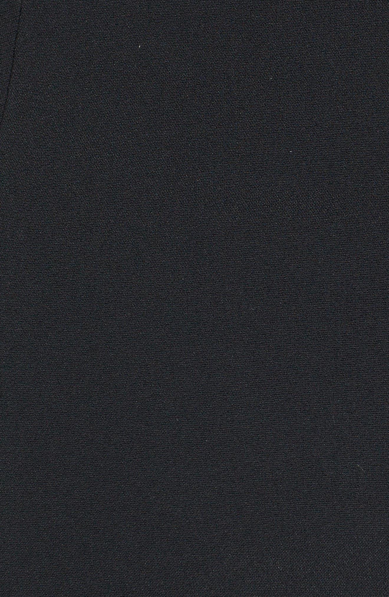 Mesh Yoke Stretch Cady Sheath Dress,                             Alternate thumbnail 5, color,                             BLACK
