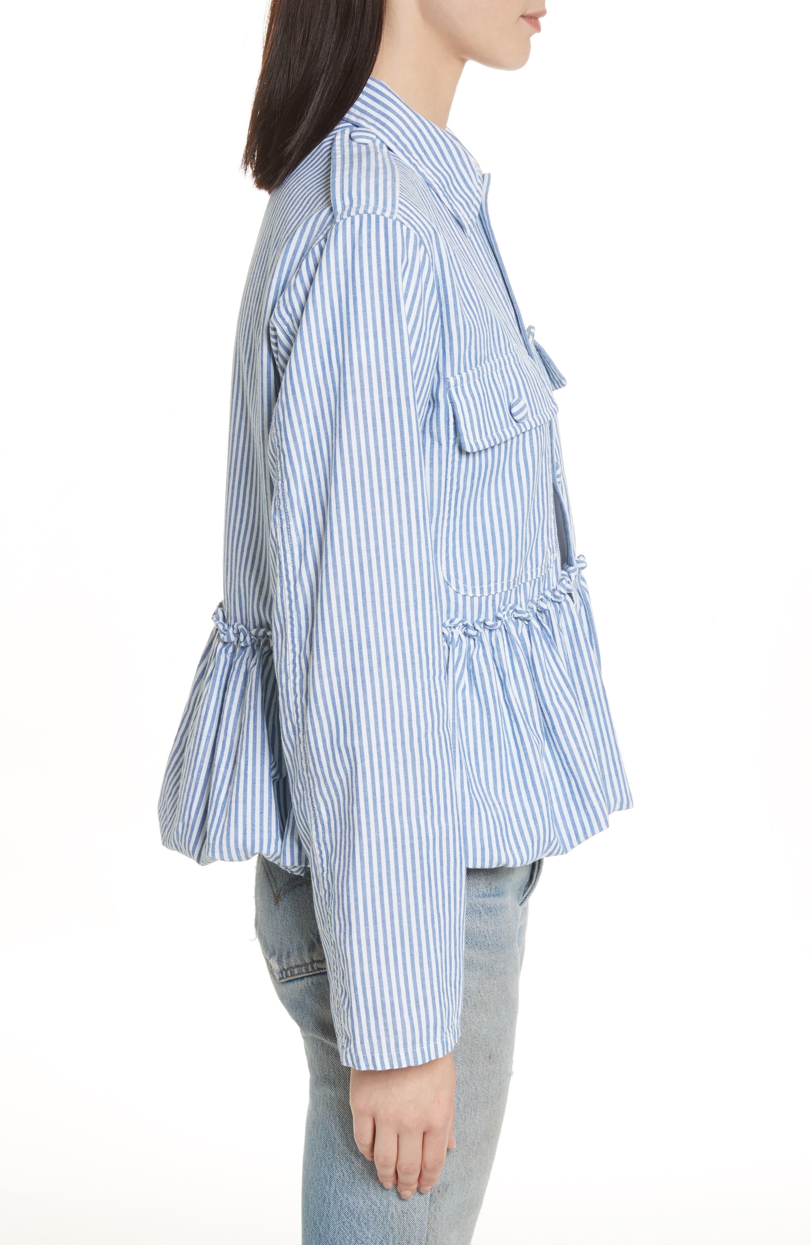 Stripe Bubble Hem Jacket,                             Alternate thumbnail 3, color,                             400