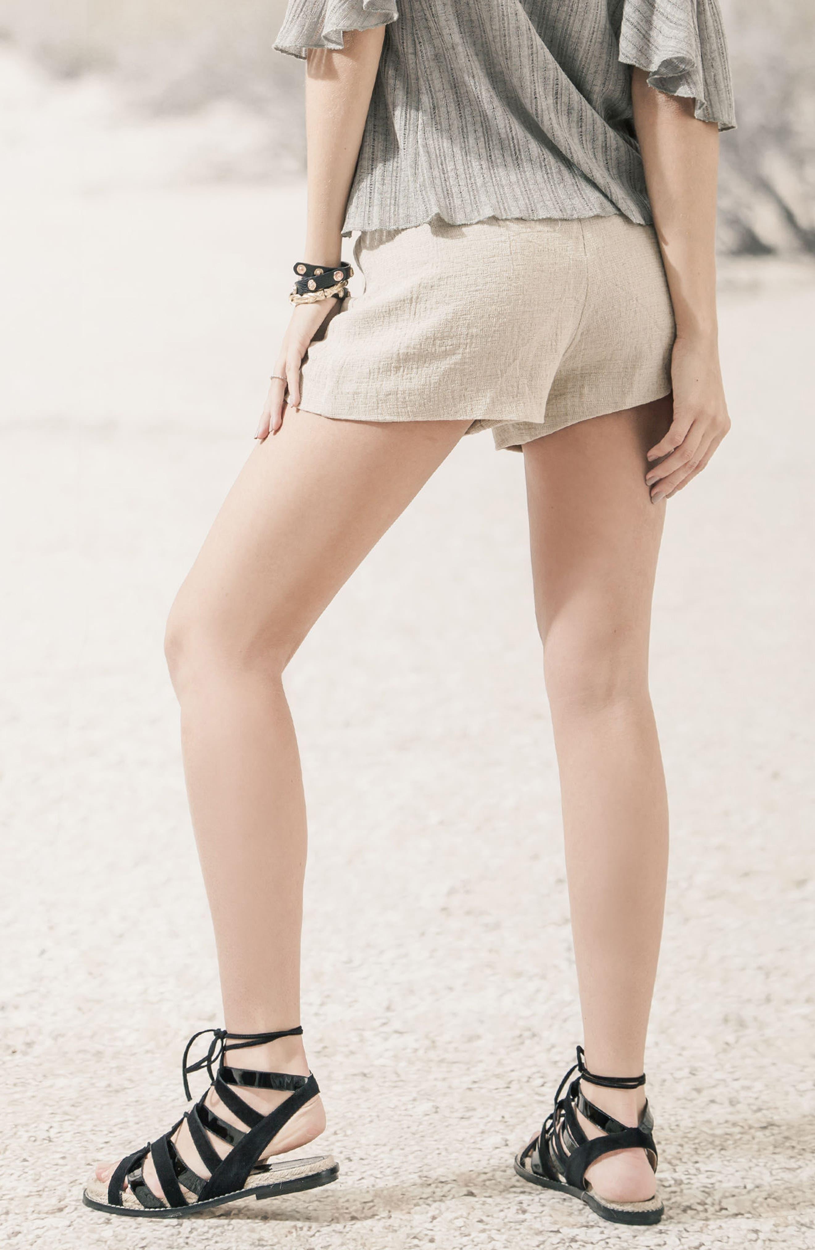 Tie Waist Linen & Cotton Shorts,                             Alternate thumbnail 6, color,                             250