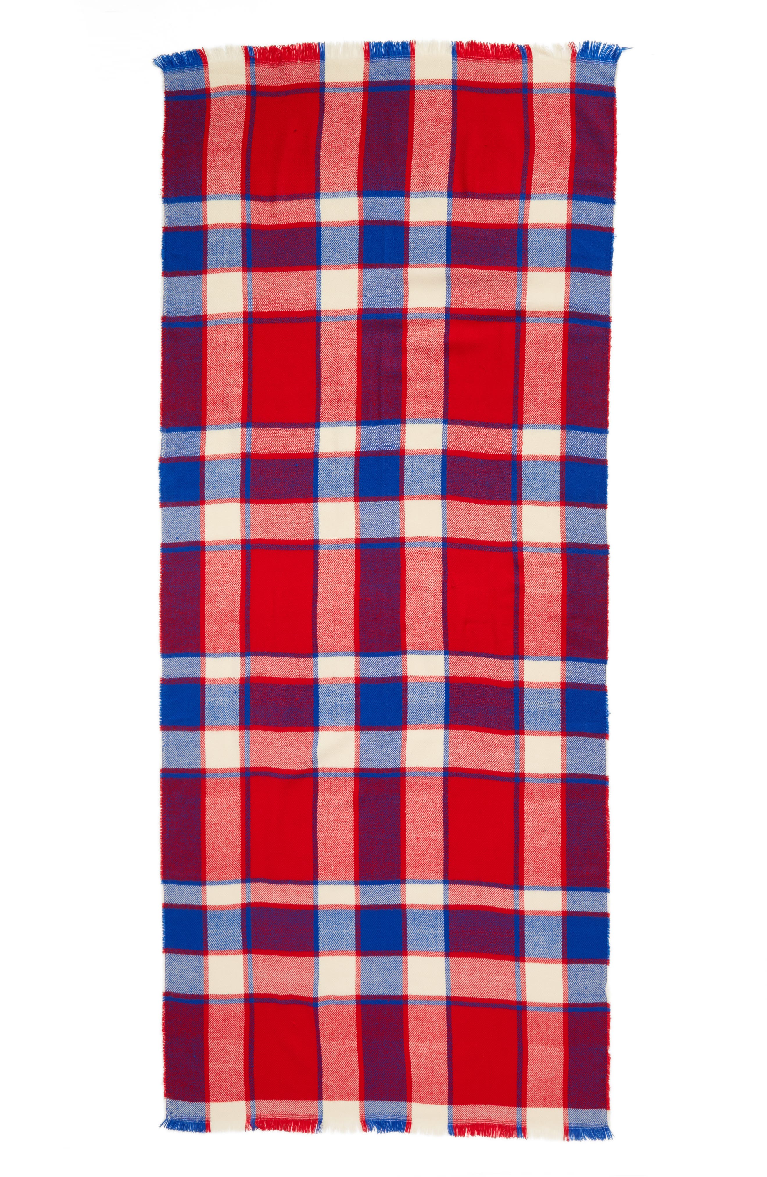 Plaid Scarf,                             Alternate thumbnail 3, color,                             RED/ BLUE