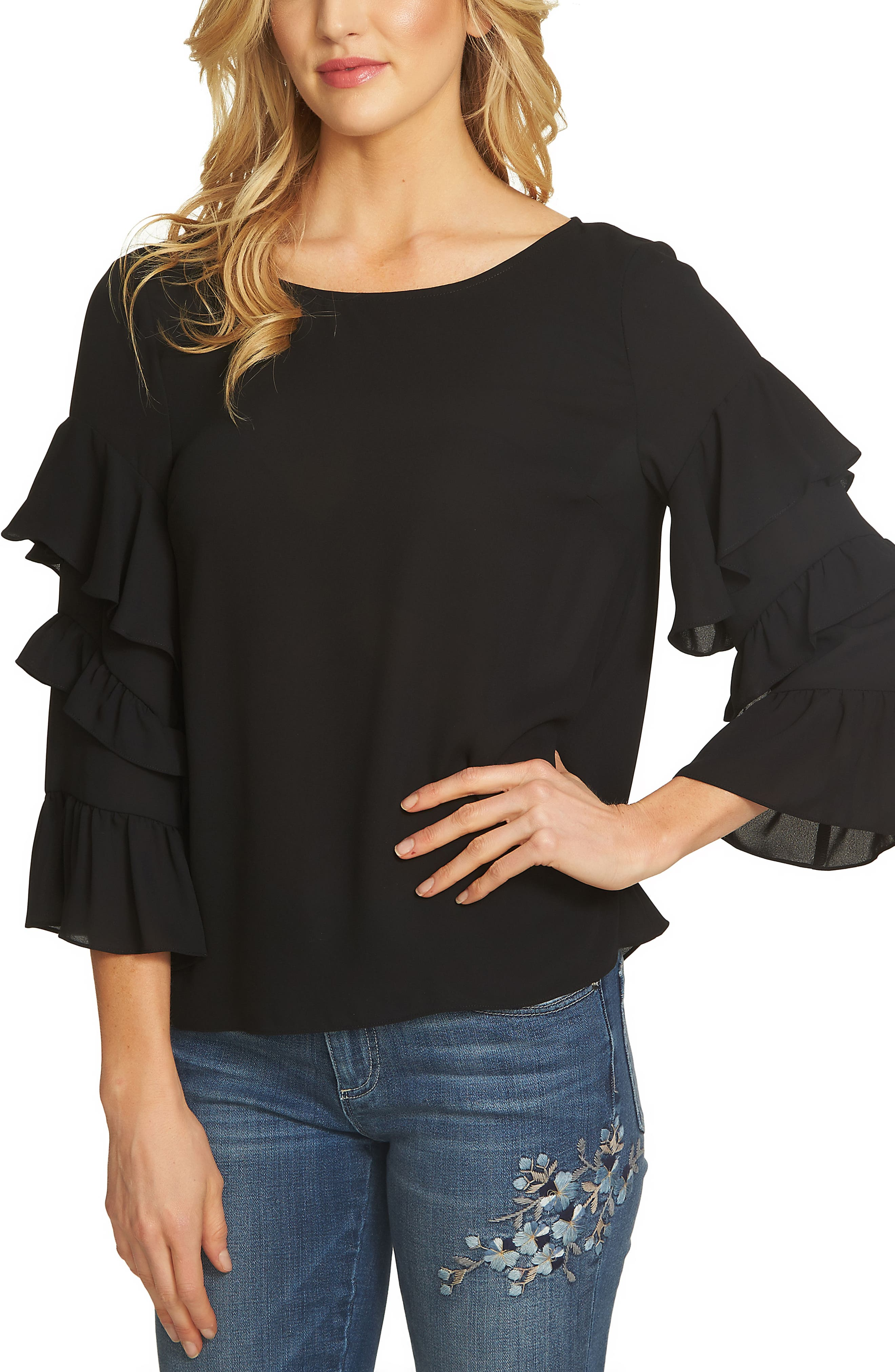 Tiered Ruffle Sleeve Blouse,                             Alternate thumbnail 3, color,                             010