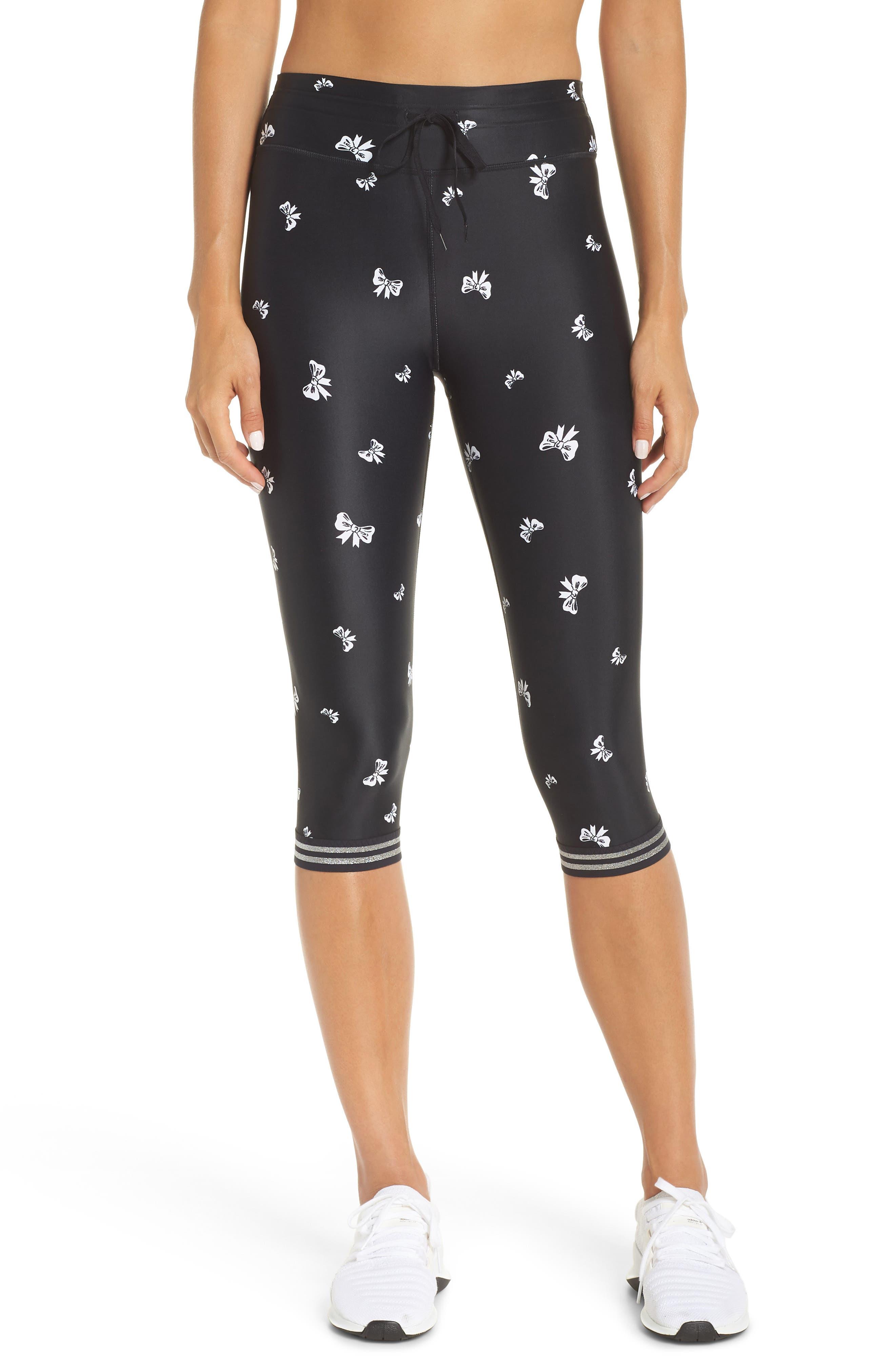 Bows Power Pant Crop Leggings,                             Main thumbnail 1, color,                             BLACK/ WHITE