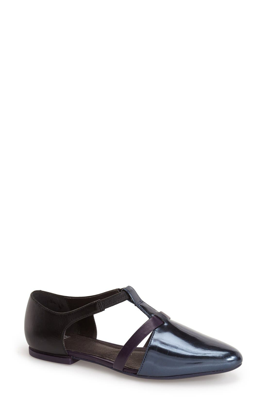 'Isadora' T-Strap Leather Flat,                             Main thumbnail 1, color,                             001