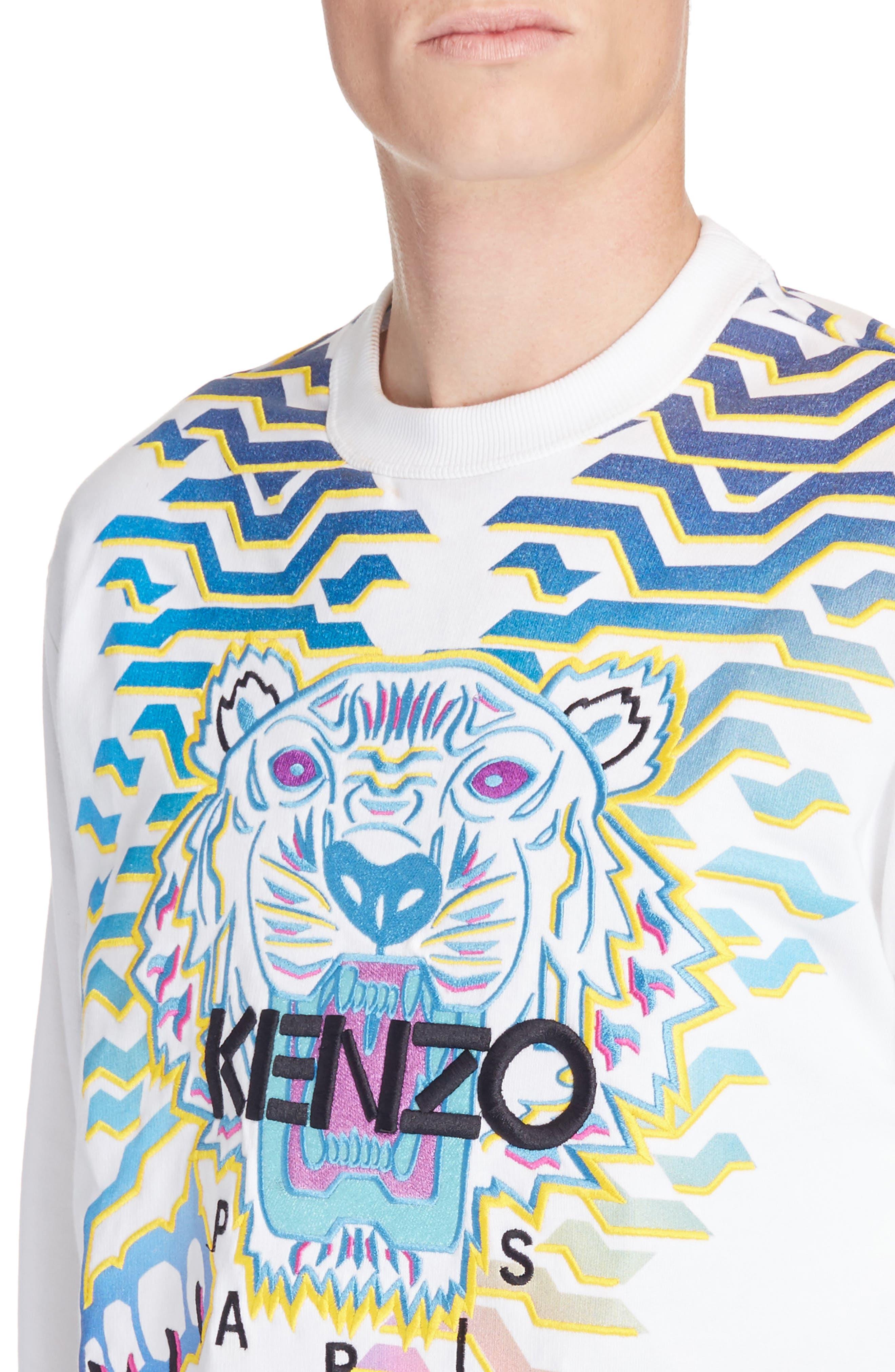Rainbow Geo Tiger Embroidered Crewneck Sweatshirt,                             Alternate thumbnail 4, color,                             WHITE