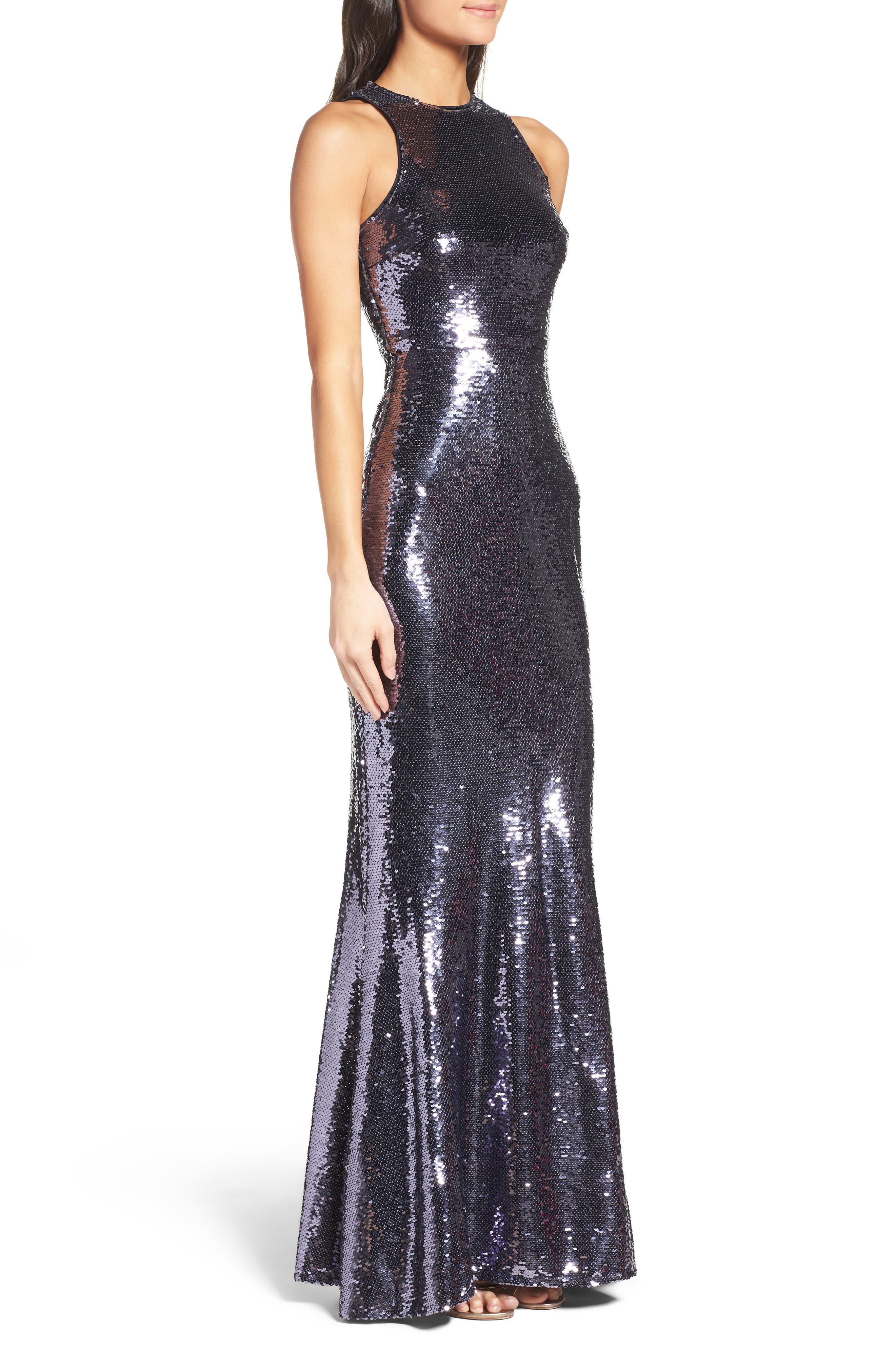 Sequin Mermaid Gown,                             Alternate thumbnail 3, color,                             040