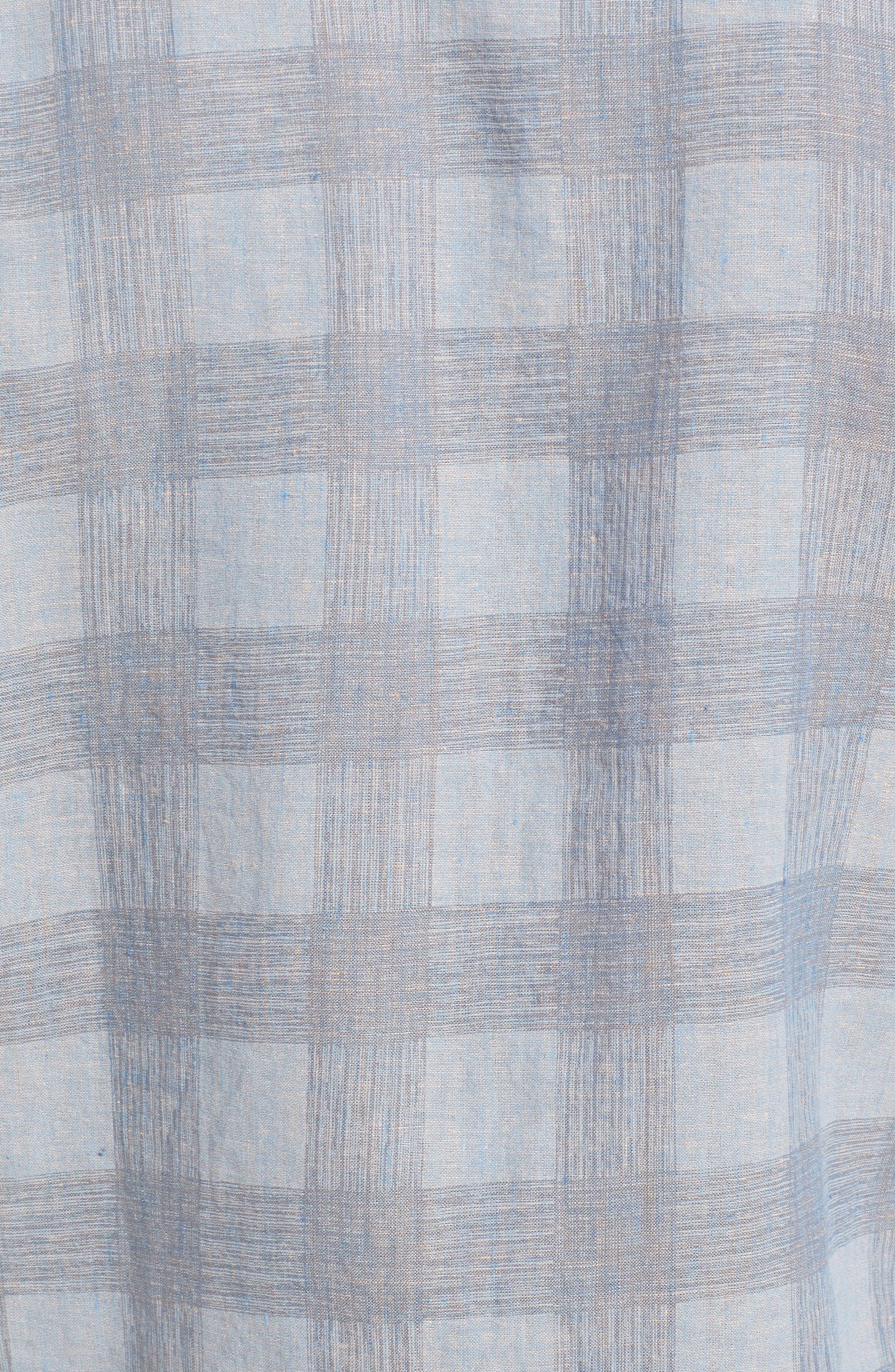 Shaped Fit Check Linen Blend Sport Shirt,                             Alternate thumbnail 5, color,                             STONE