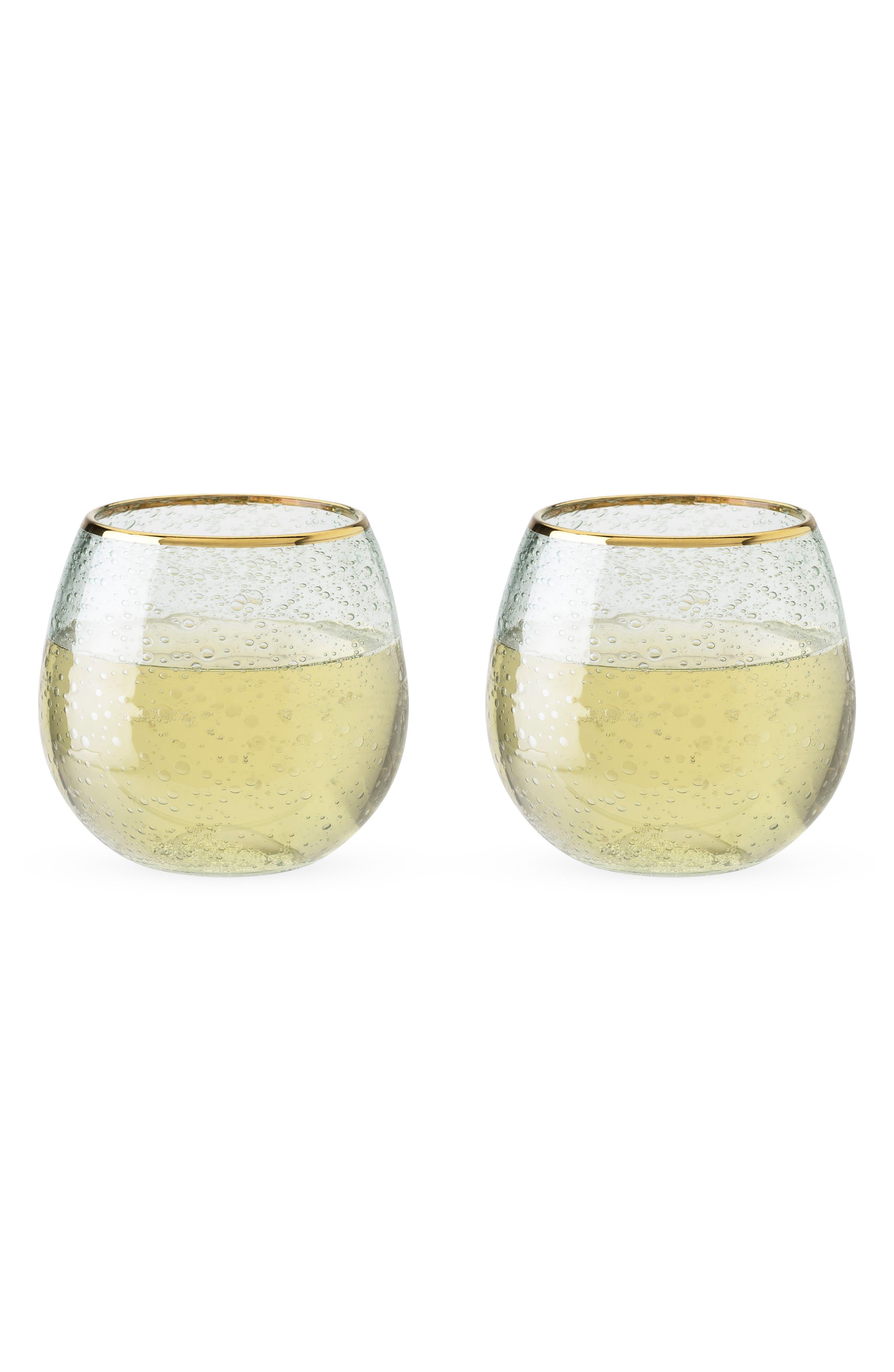 Set of 2 Gold Rim Stemless Wine Glasses,                             Alternate thumbnail 2, color,                             100