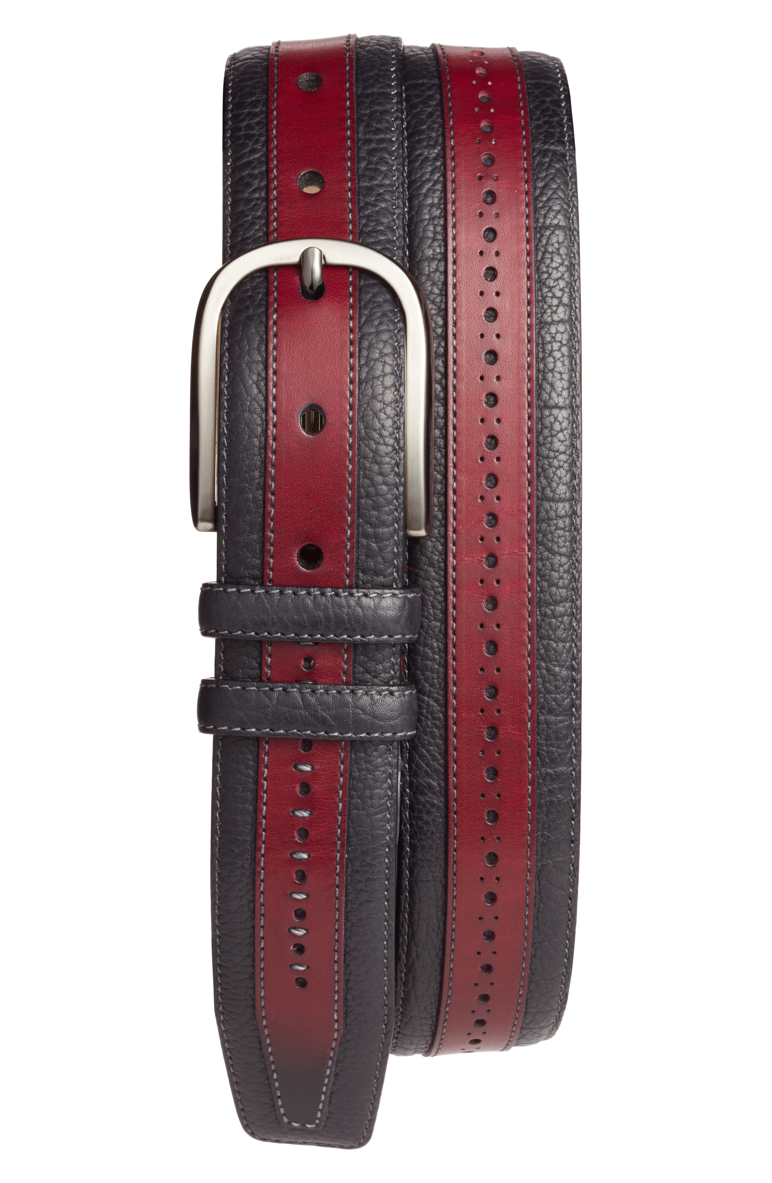 Palma Leather Belt,                         Main,                         color, BURGUNDY/ BLACK