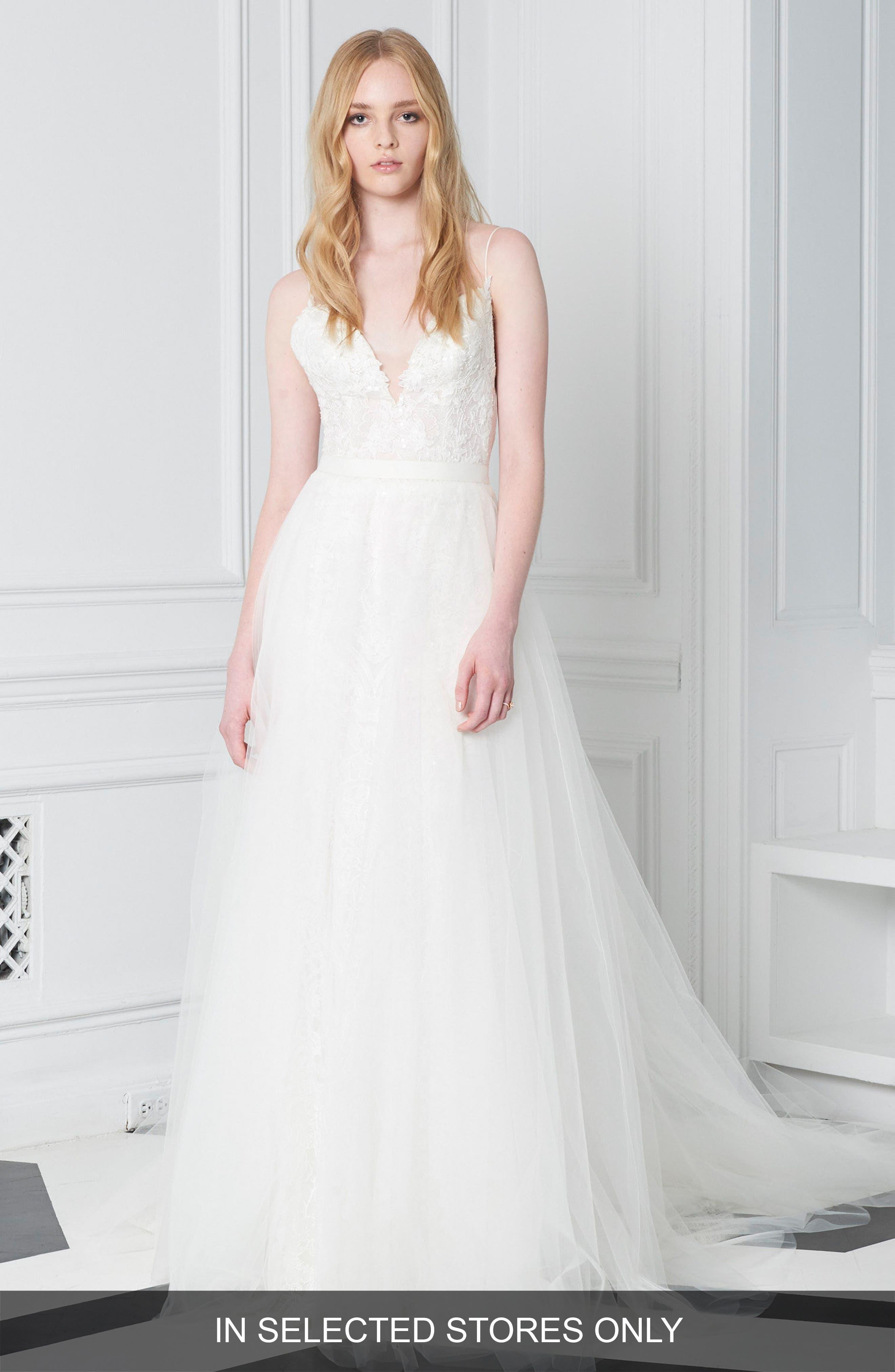 Lace Plunge Neck Ballgown,                         Main,                         color, SILK WHITE
