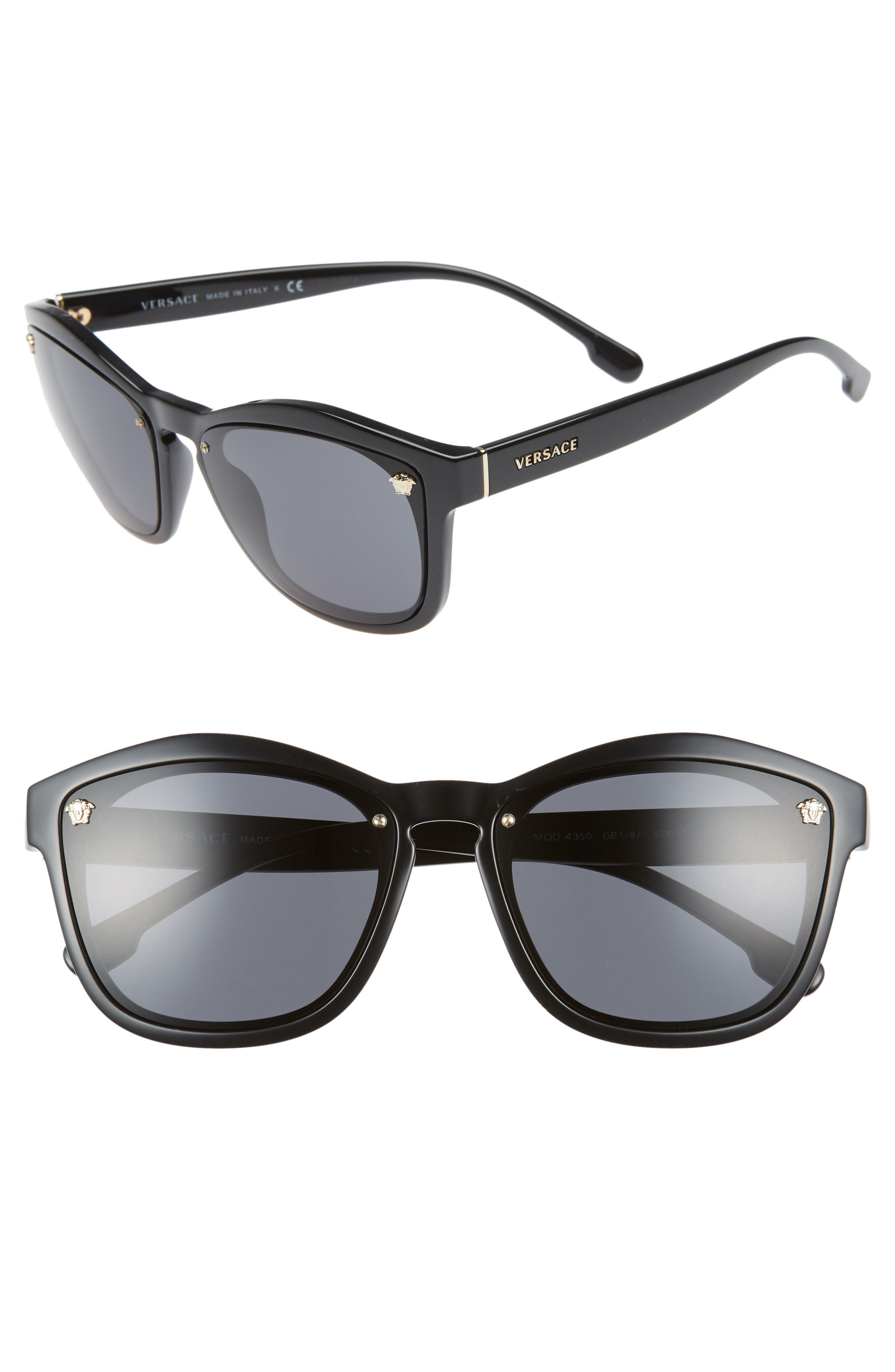 Medusa 57mm Square Sunglasses, Main, color, 001