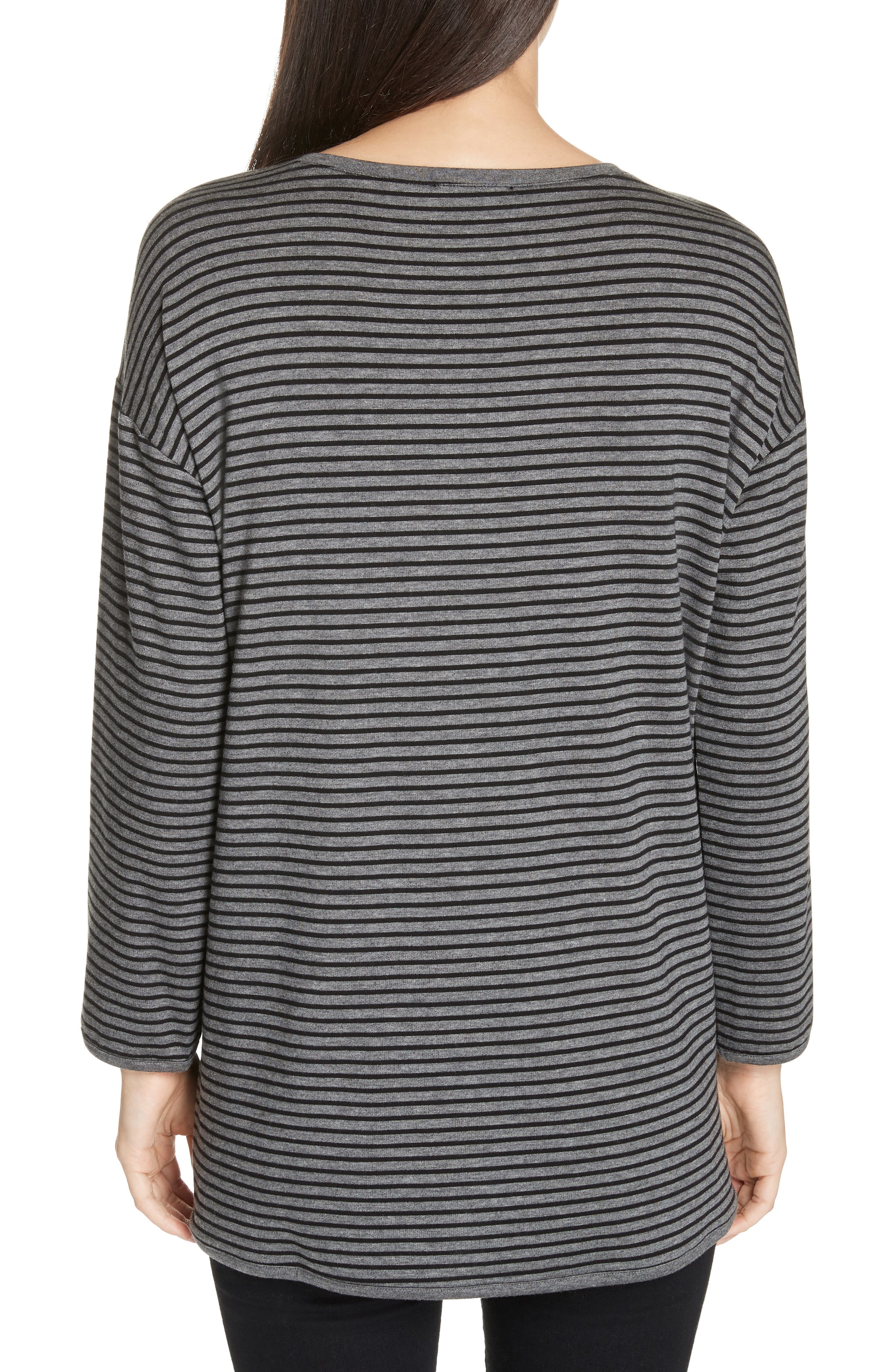 EILEEN FISHER, Stripe Terry Tunic, Alternate thumbnail 2, color, 091