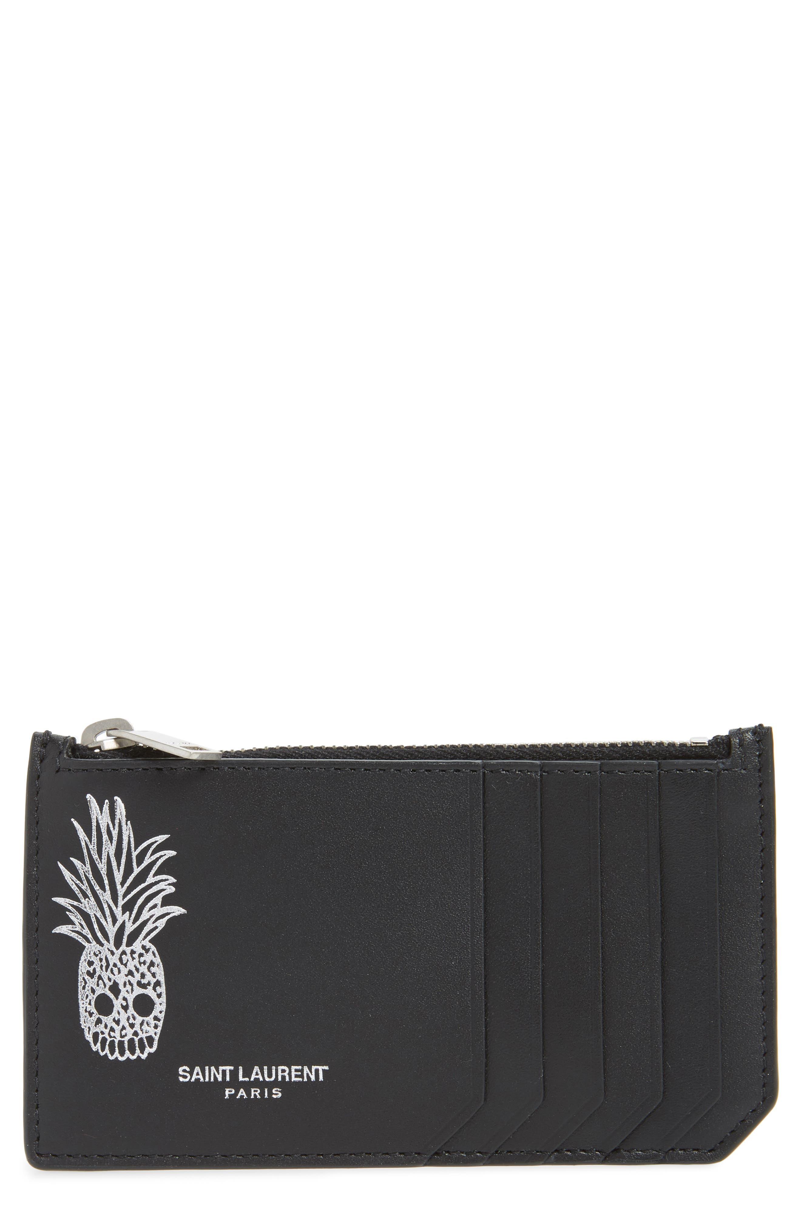 Pineapple Skull Leather Zip Card Case,                             Main thumbnail 1, color,                             BLACK