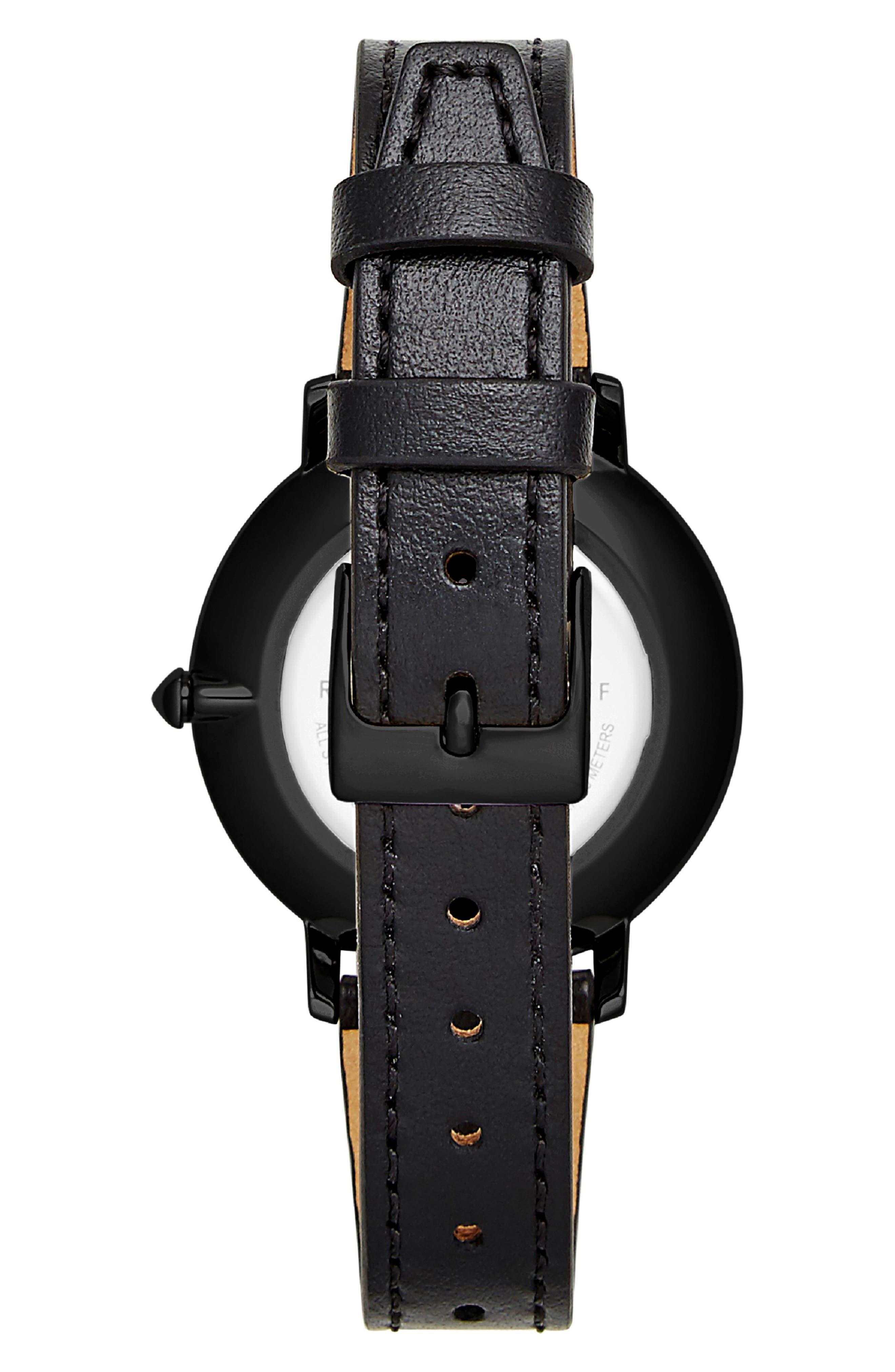 REBECCA MINKOFF,                             Major Leather Strap Watch, 35mm,                             Alternate thumbnail 2, color,                             BLACK
