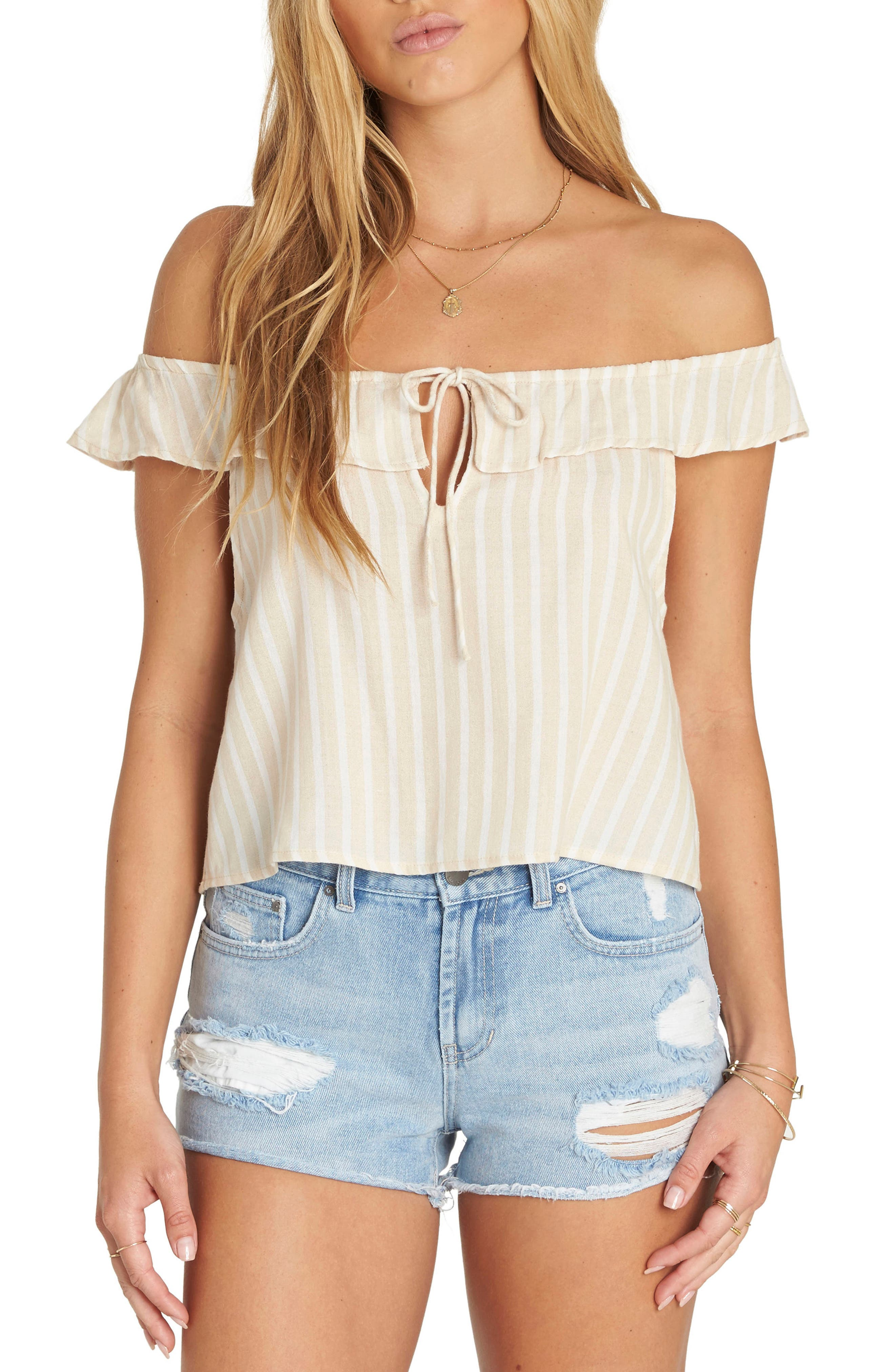 Peach Kisses Off the Shoulder Top,                         Main,                         color, 250