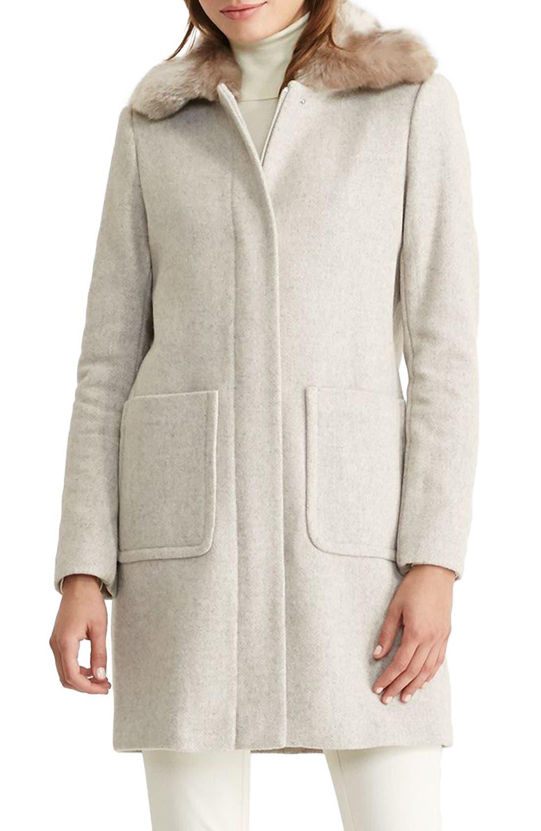 LAUREN RALPH LAUREN Wool Blend Coat with Faux Fur Collar, Main, color, 068