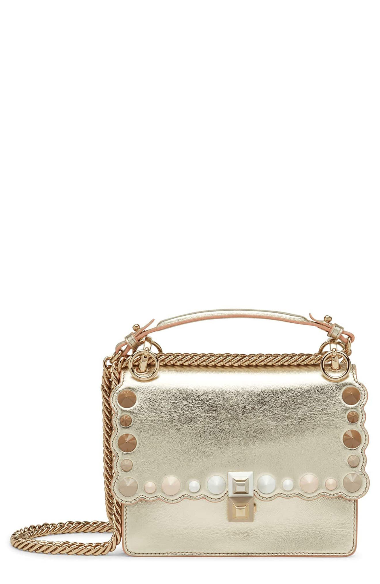 Small Kan I Metallic Leather Shoulder Bag,                             Main thumbnail 1, color,                             CHAMPAGNE/ ORO