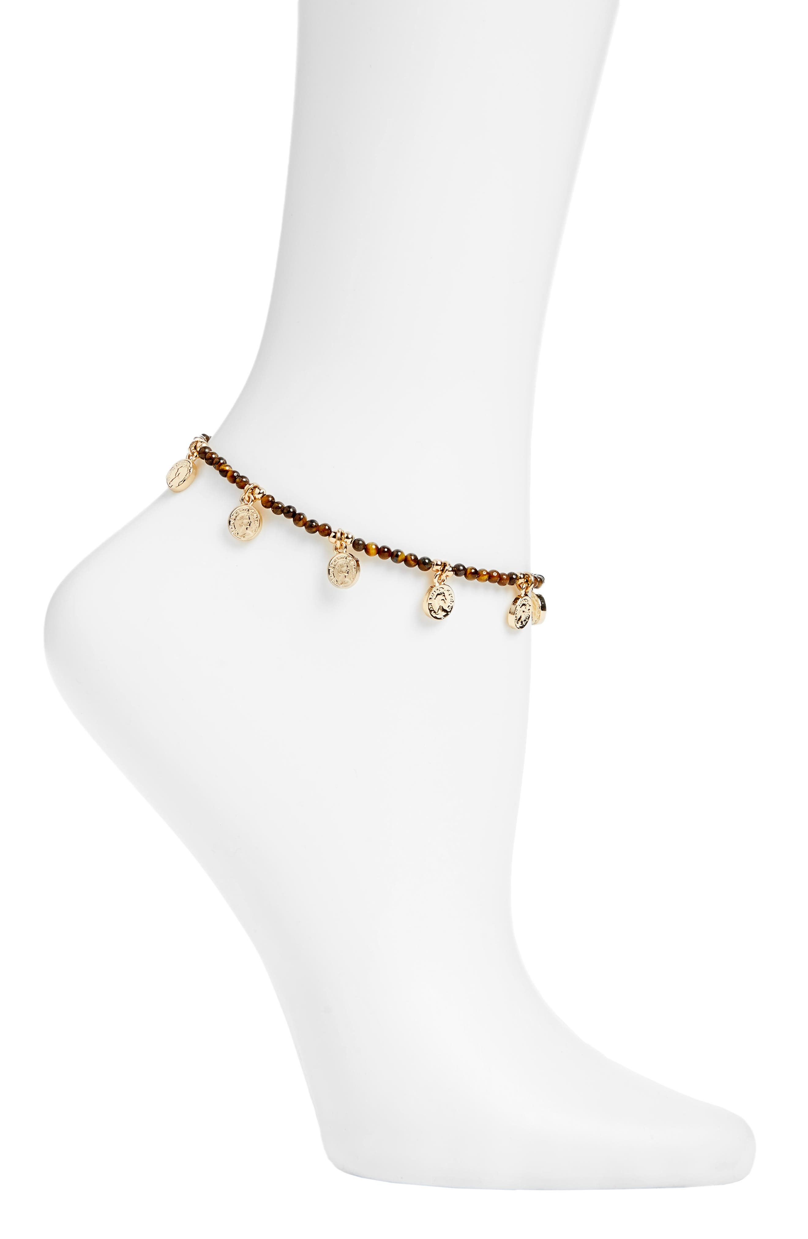 Tiger's Eye Beaded Charm Anklet,                         Main,                         color, BROWN