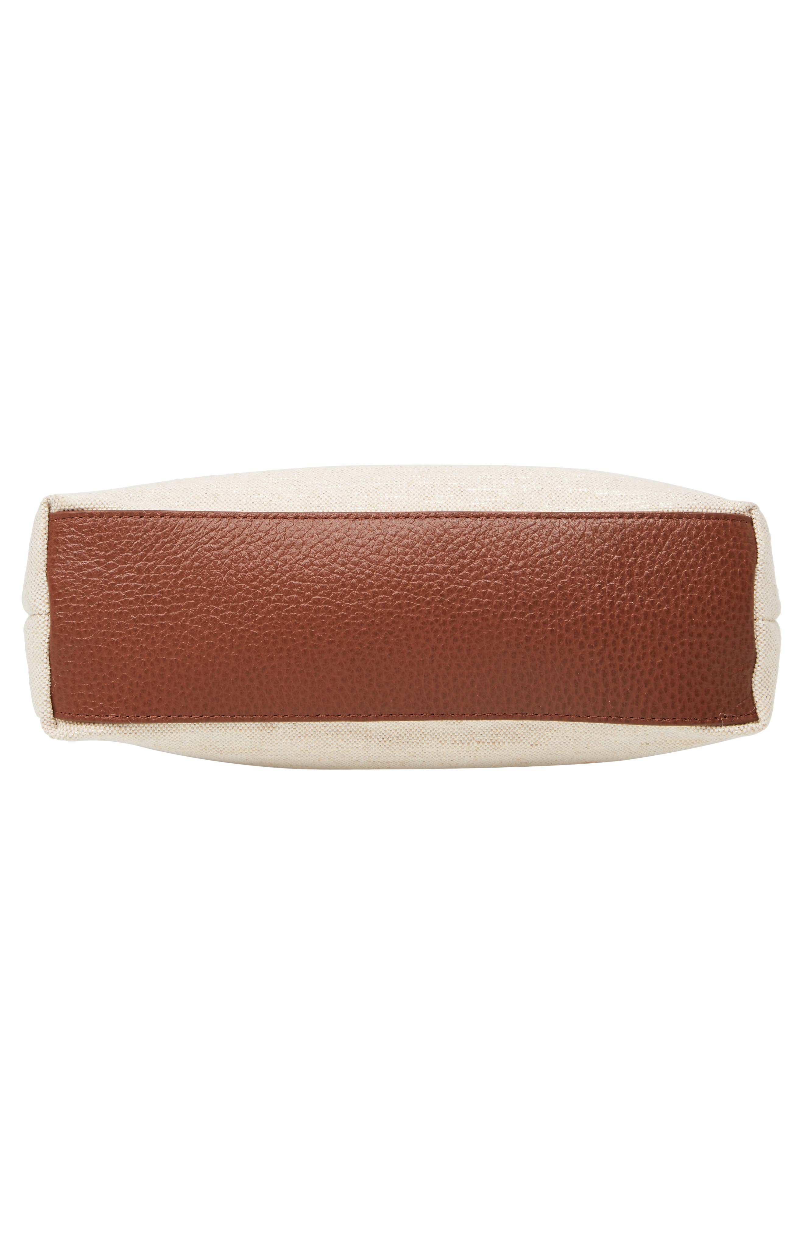 Kaison Linen & Leather Crossbody Bag,                             Alternate thumbnail 6, color,                             NATURAL/ GOLD