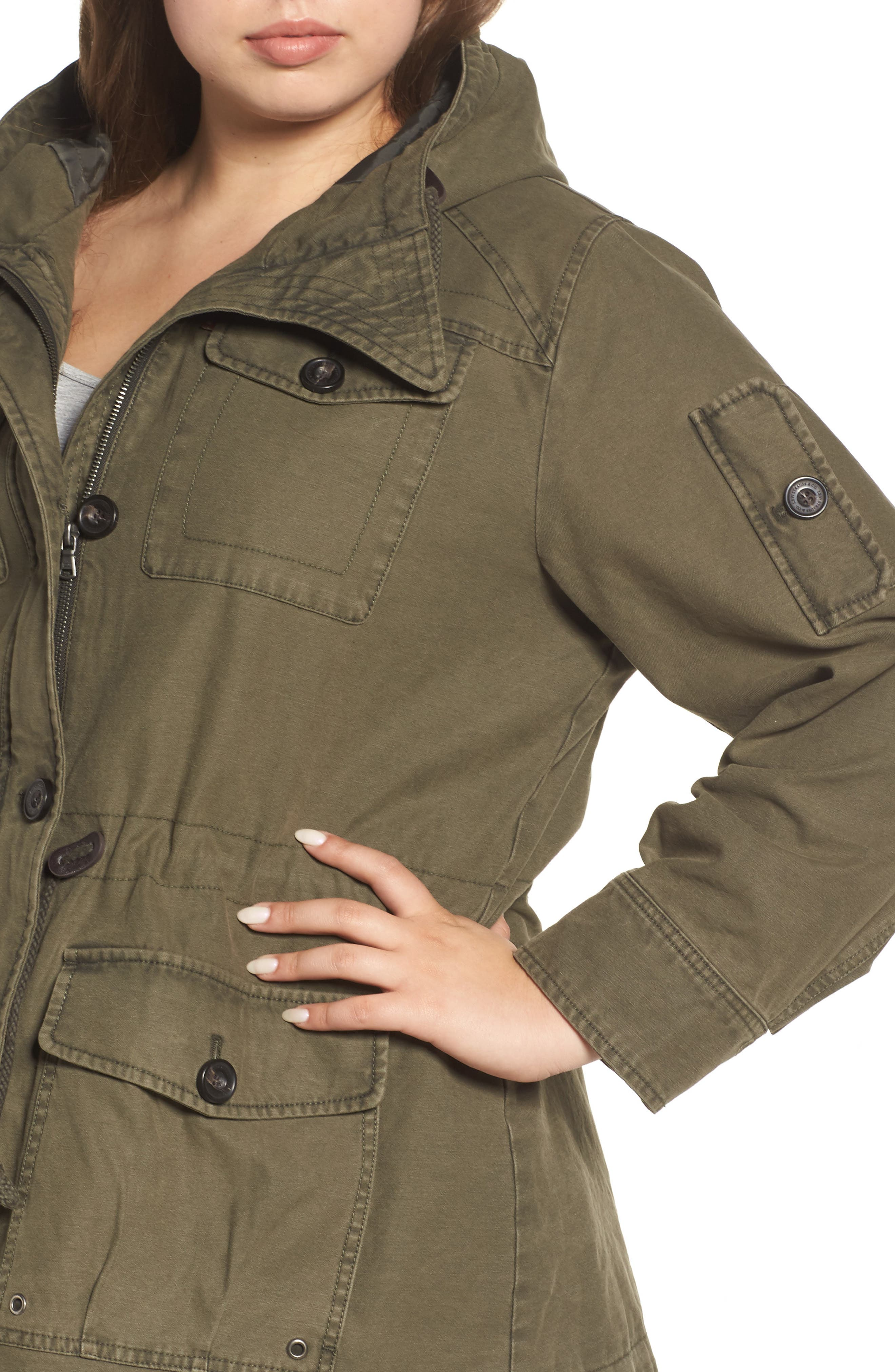 Hooded Cotton Utility Jacket,                             Alternate thumbnail 12, color,