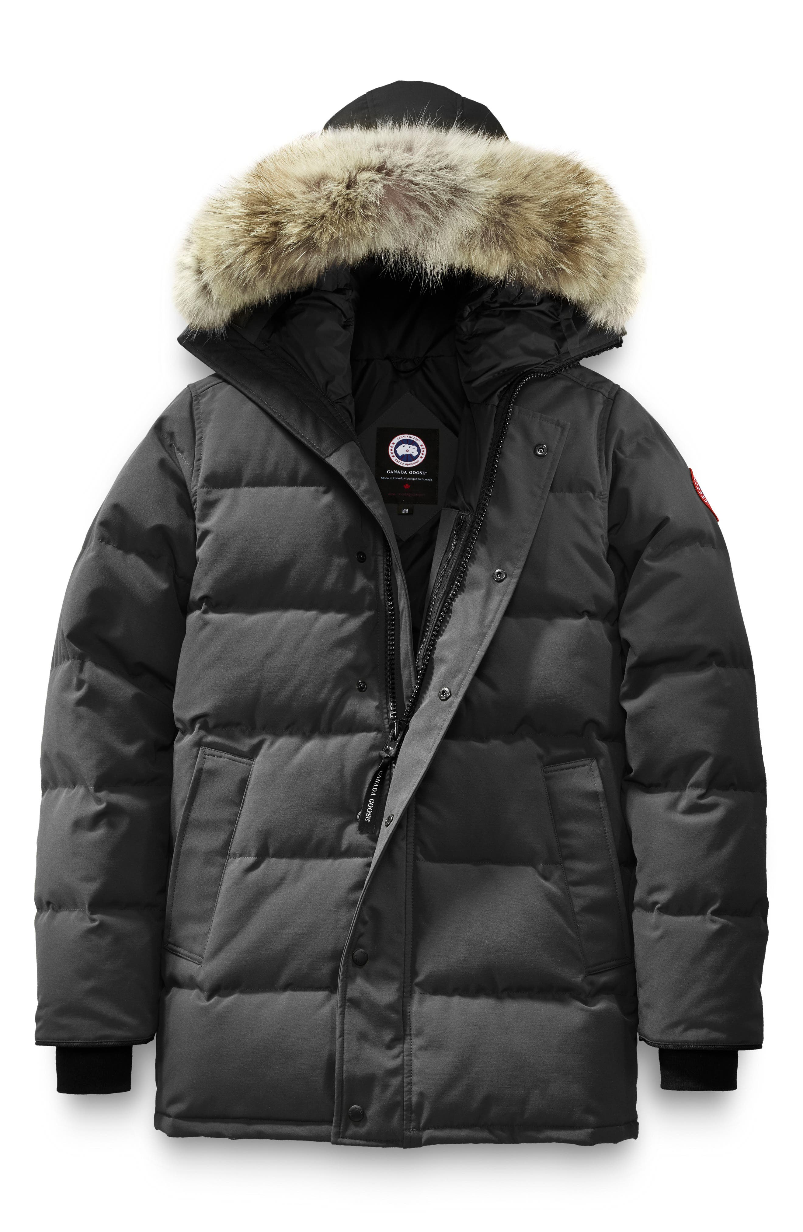 'Carson' Slim Fit Hooded Packable Parka with Genuine Coyote Fur Trim,                             Alternate thumbnail 4, color,                             GRAPHITE