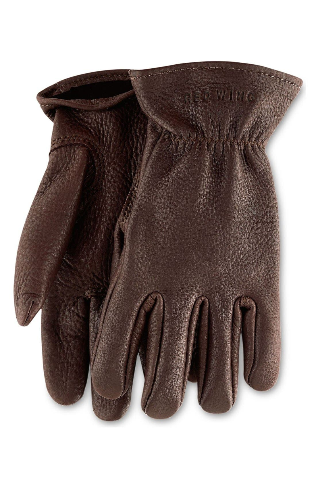 Buckskin Leather Gloves,                             Main thumbnail 1, color,                             BROWN
