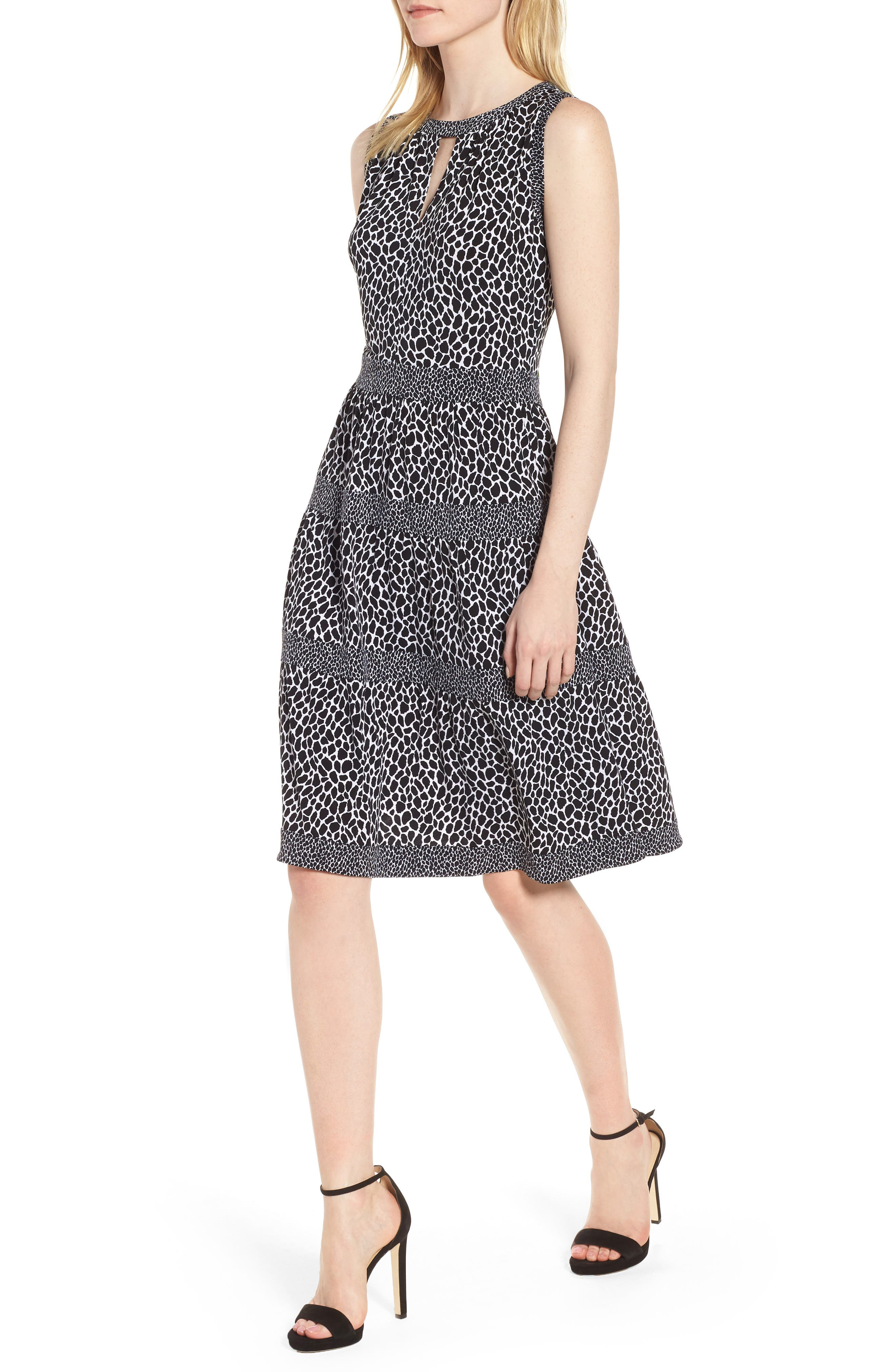 Sleeveless Leopard Border Fit & Flare Dress,                             Main thumbnail 1, color,