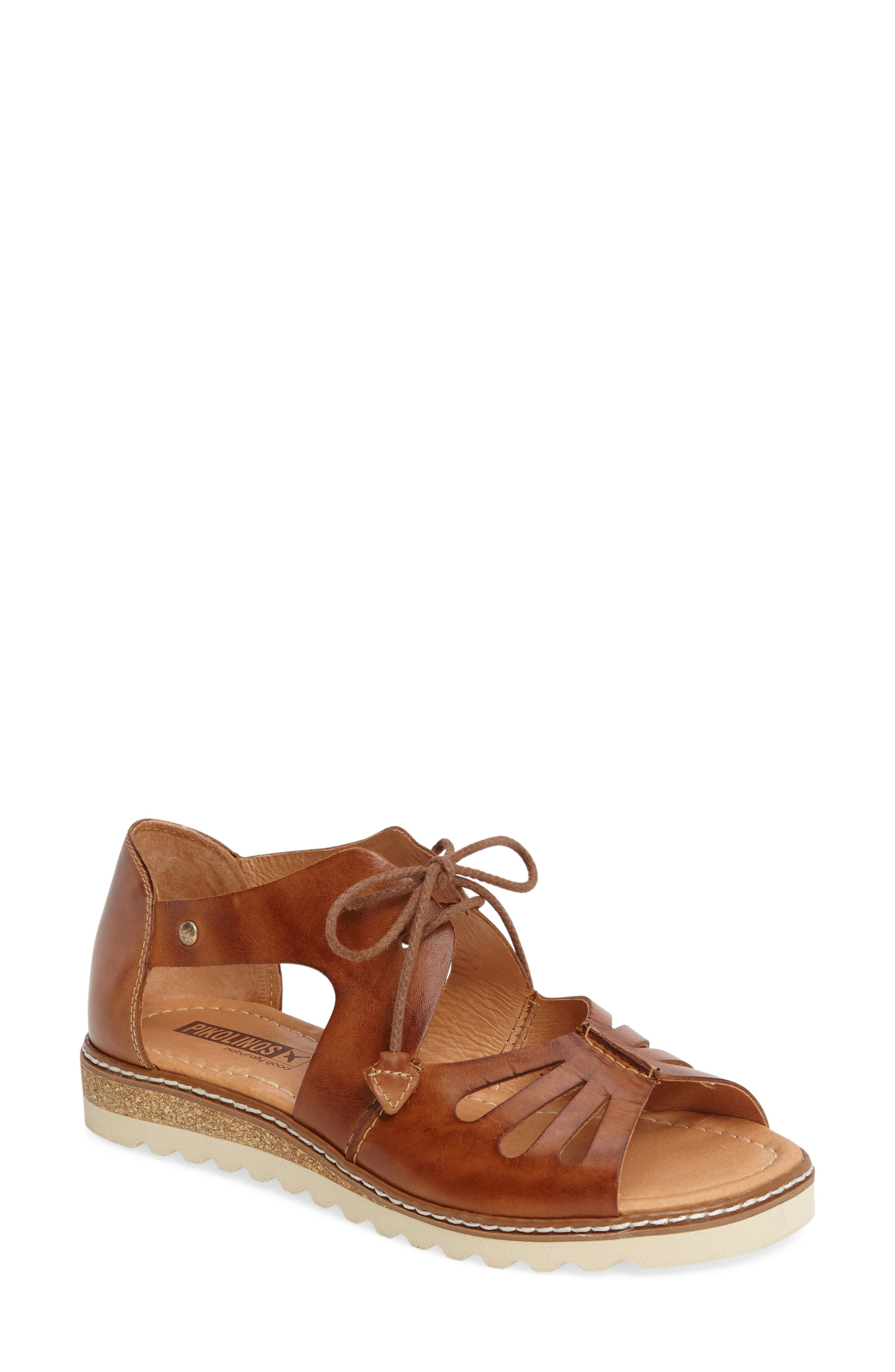 PIKOLINOS,                             Alcudia Lace-Up Sandal,                             Main thumbnail 1, color,                             BRANDY LEATHER