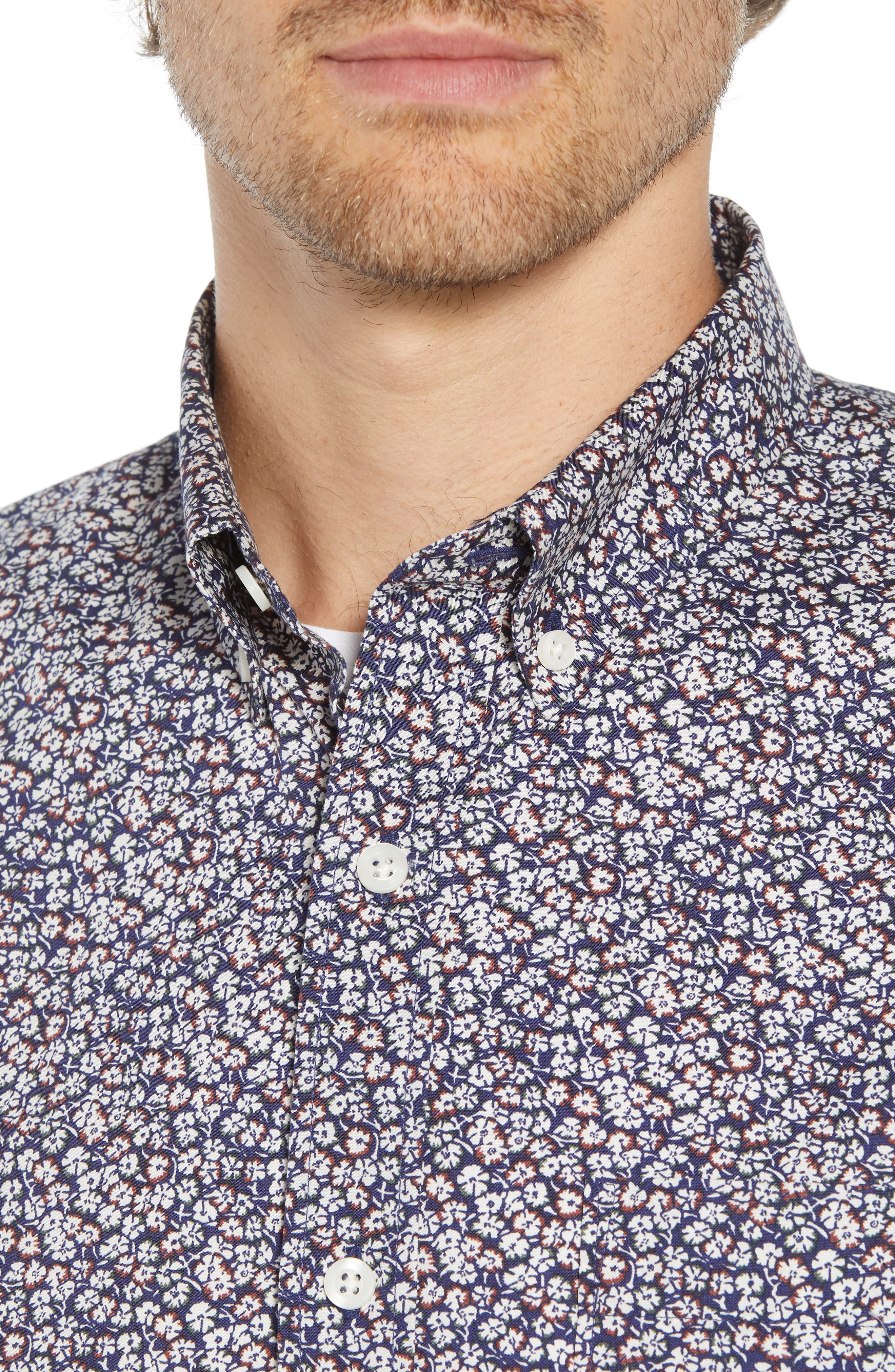 Micro Floral Print Sport Shirt,                             Alternate thumbnail 4, color,                             NAVY CREAM MICRO FLOWER