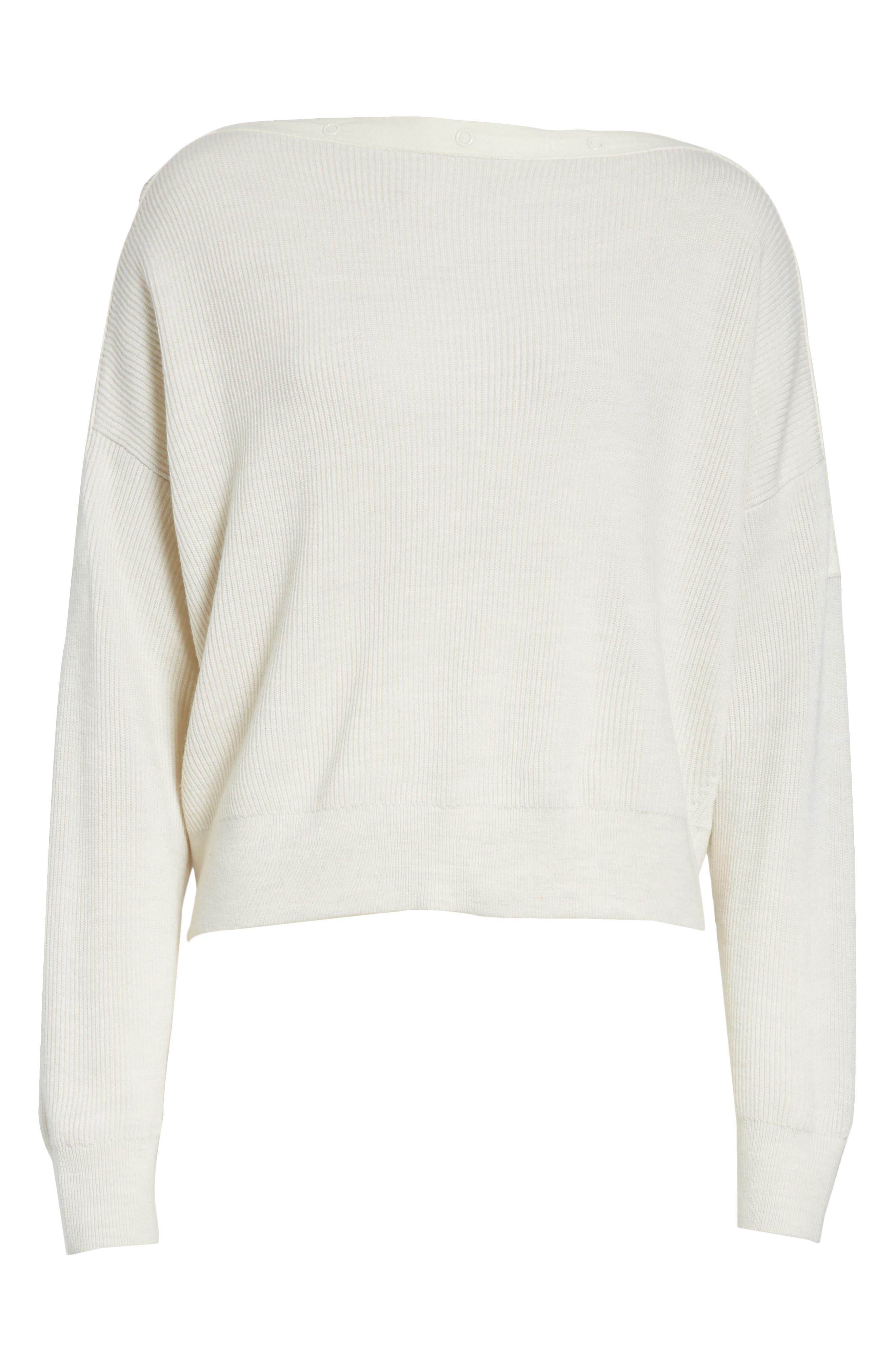 T by Alexander Wang Snap Detail Merino Wool Blend Sweater,                             Alternate thumbnail 6, color,                             906