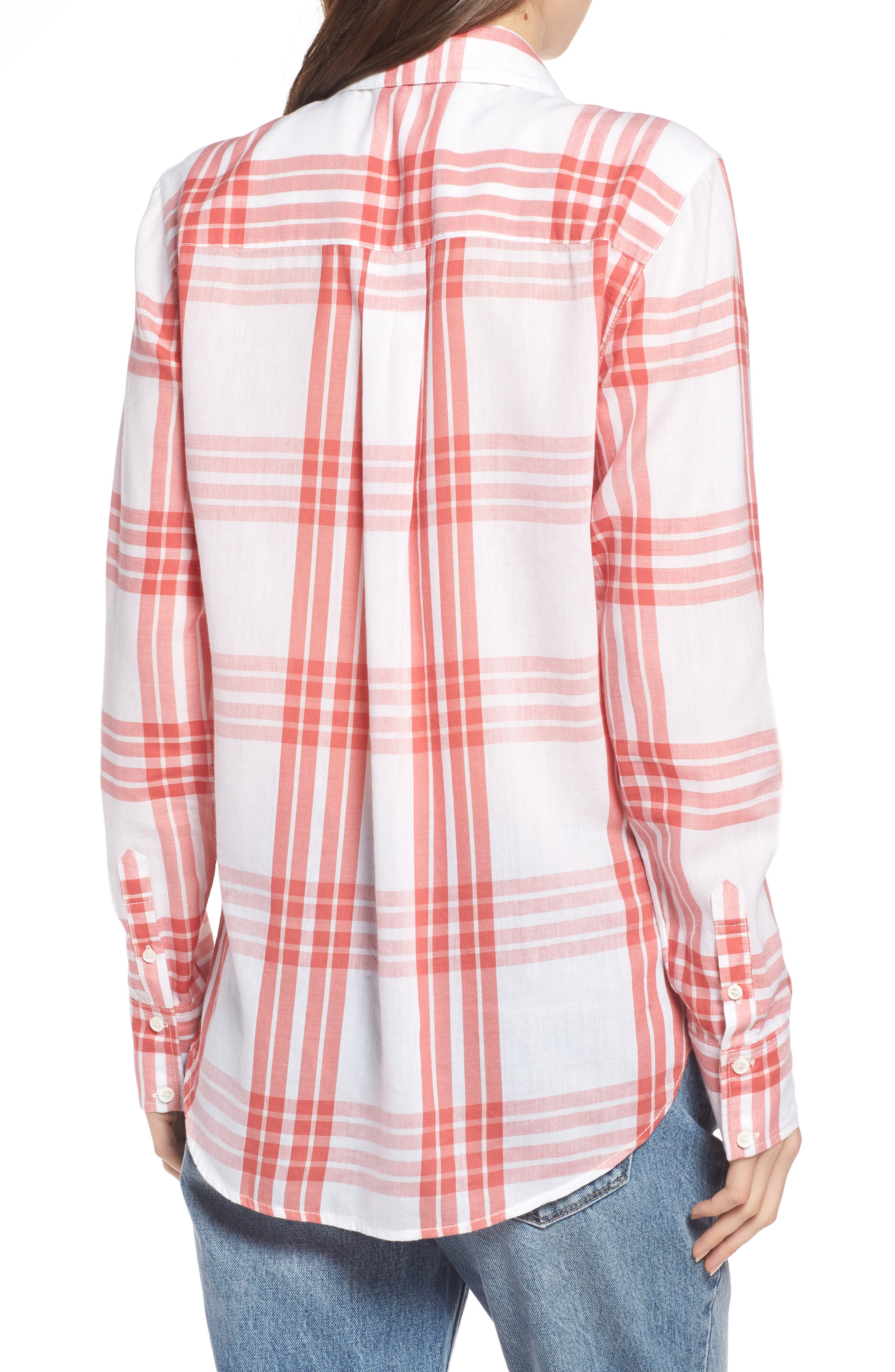Classic Drapey Shirt,                             Alternate thumbnail 2, color,                             WHITE RED MINERAL REAR WINDOW