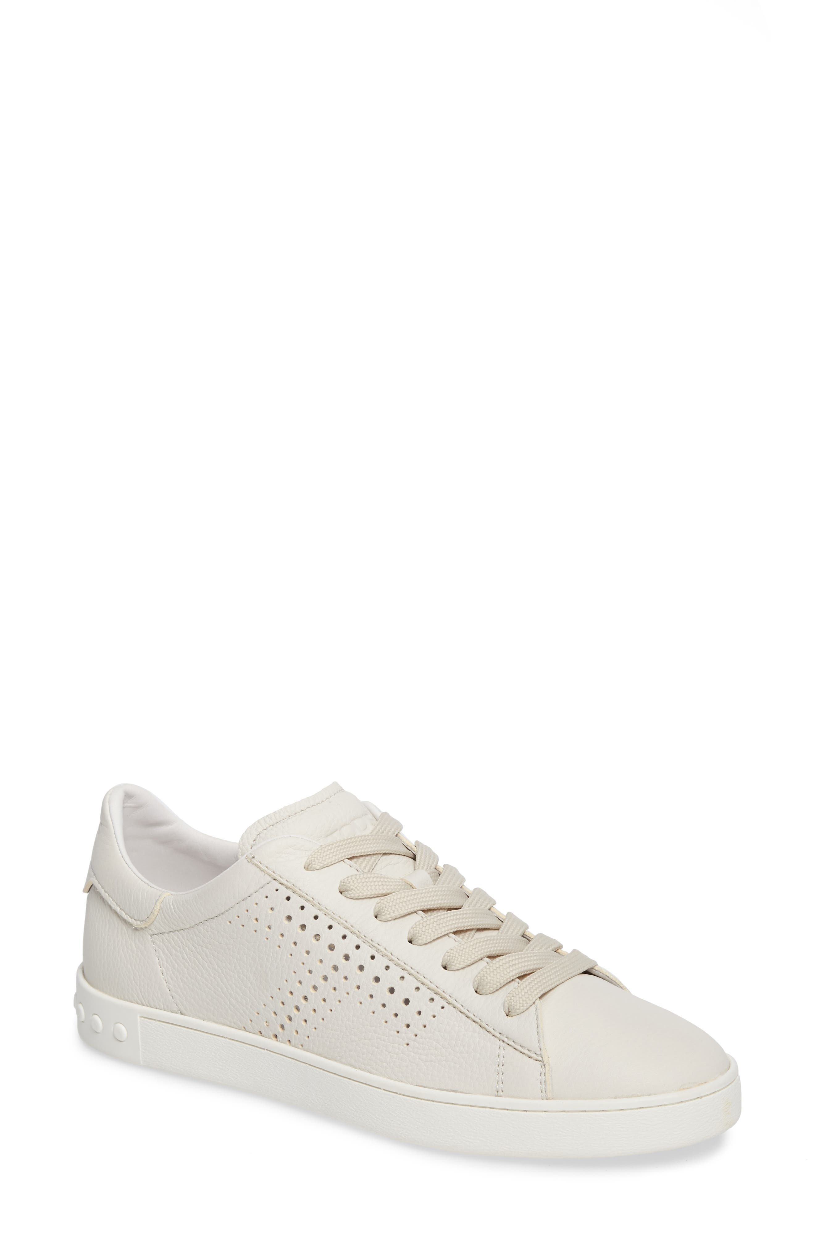 Tods Perforated T Sneaker,                             Main thumbnail 1, color,                             100