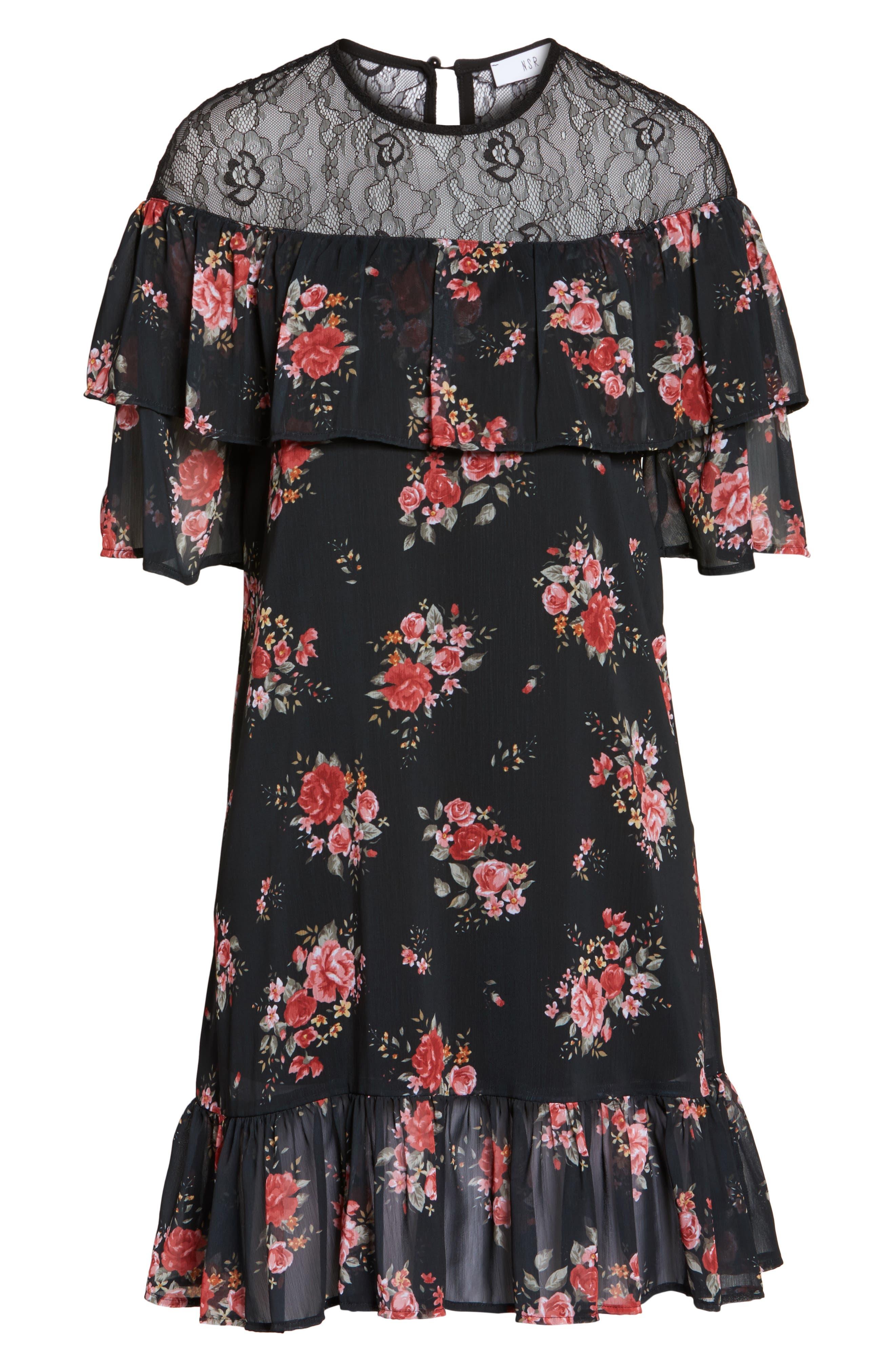 Ruffle Chiffon Shift Dress,                             Alternate thumbnail 6, color,                             001