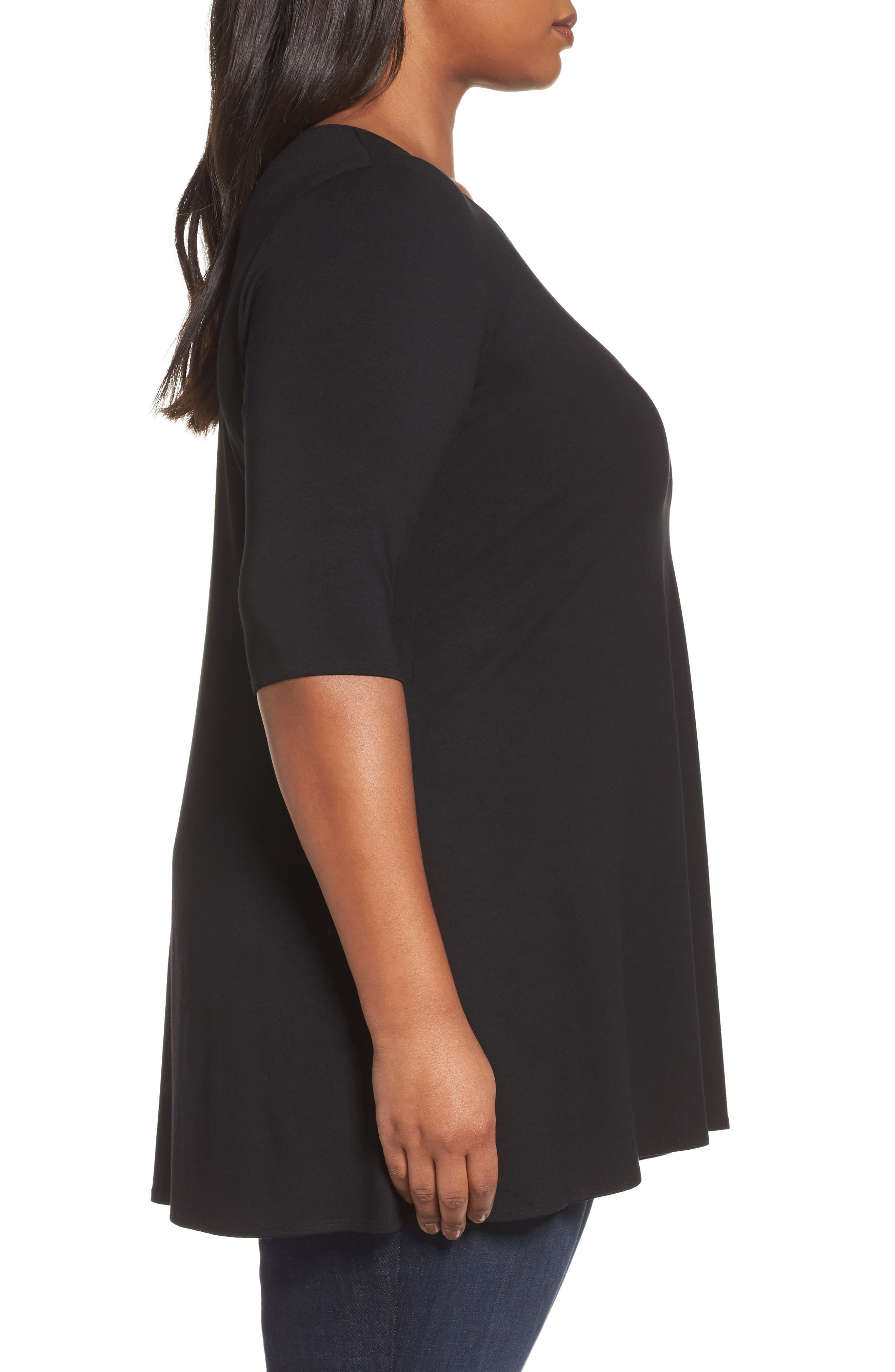 Scoop Neck Jersey Tunic,                             Alternate thumbnail 3, color,                             001