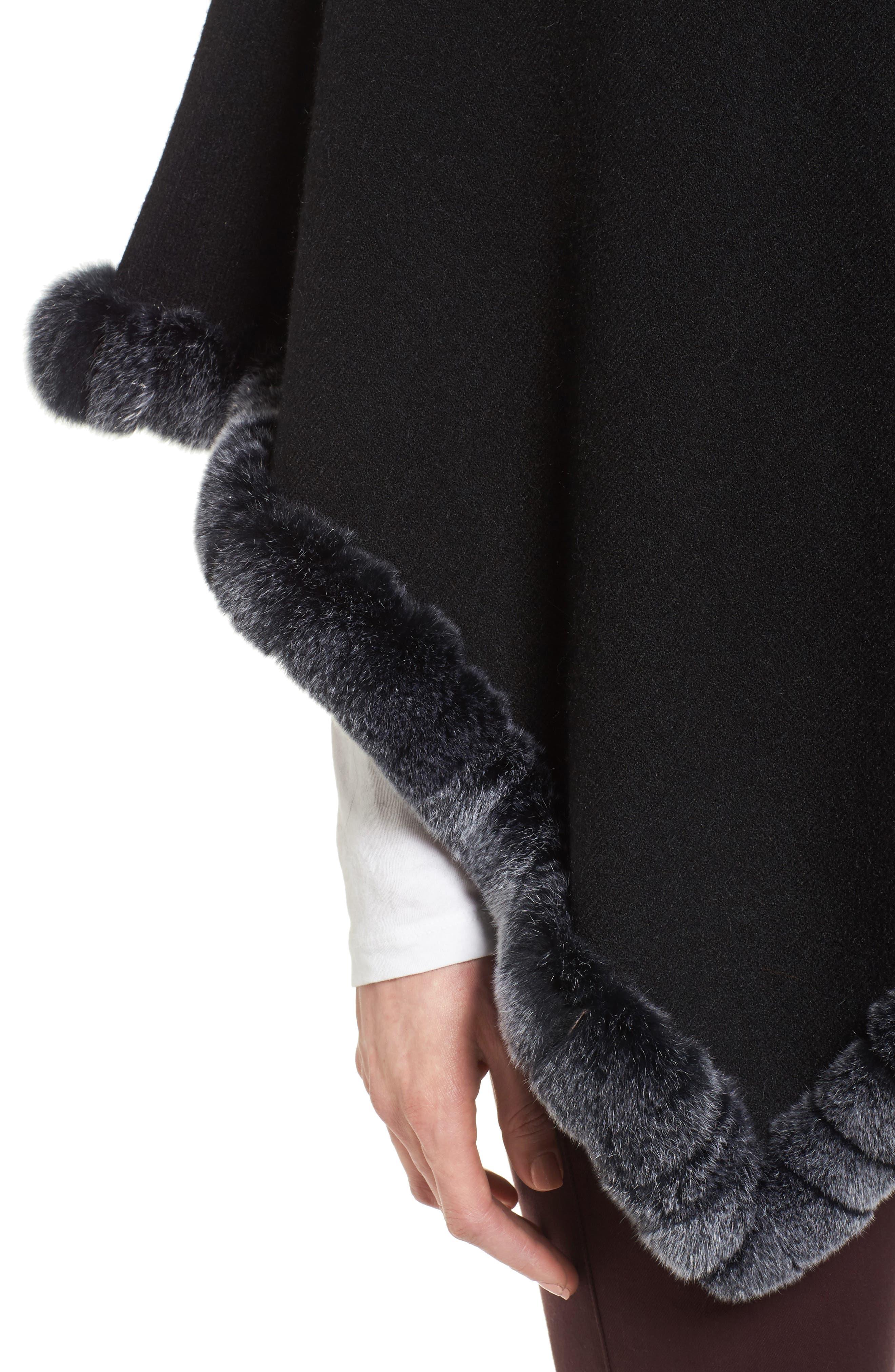 Angled Poncho with Genuine Rabbit Fur Trim,                             Alternate thumbnail 4, color,                             BLACK