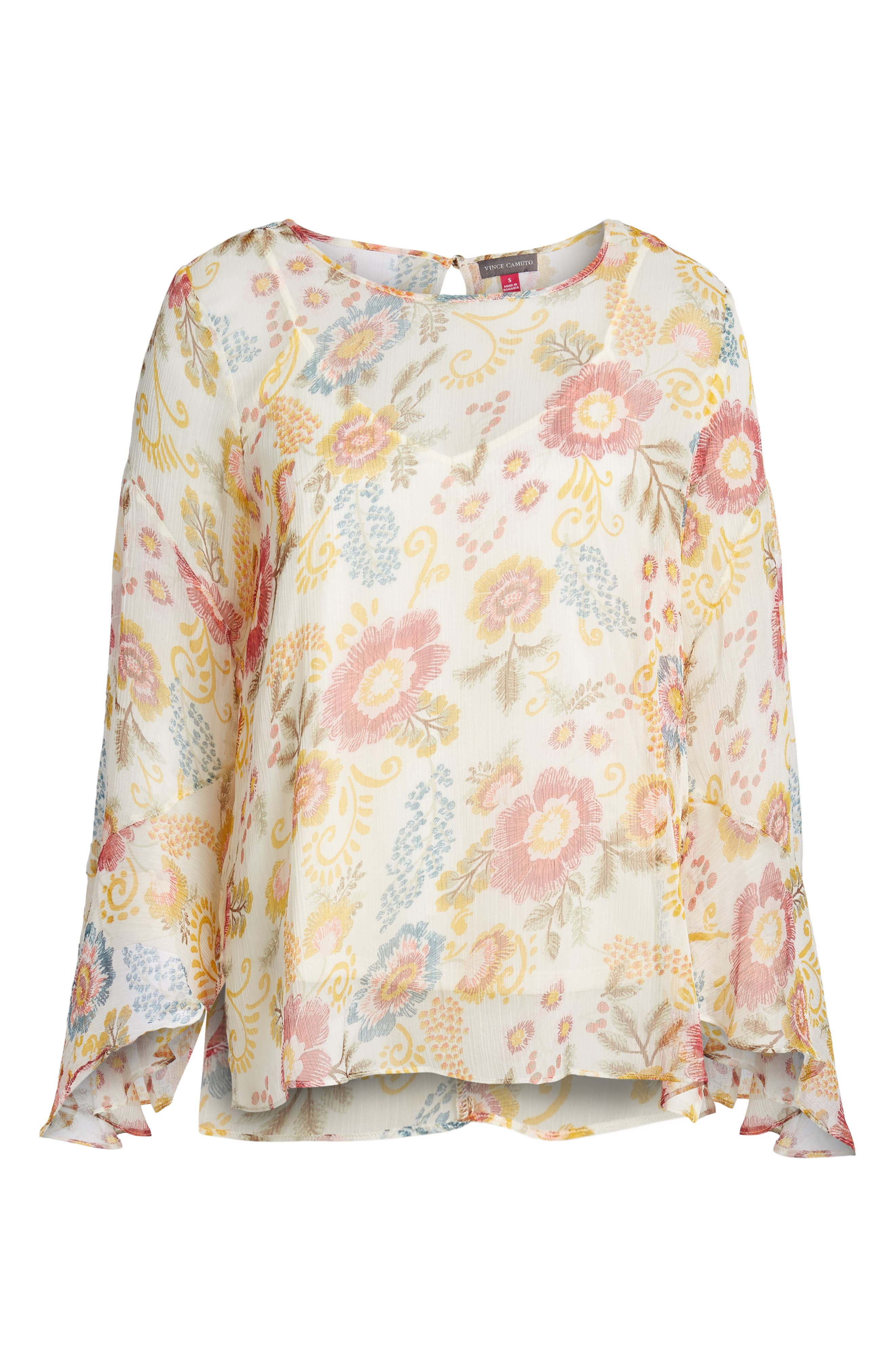 Flared Sleeve Floral Top,                             Alternate thumbnail 18, color,