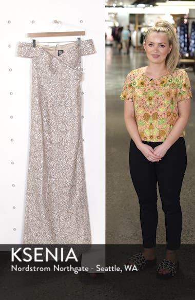 Off the Shoulder Sequin & Lace Gown, sales video thumbnail