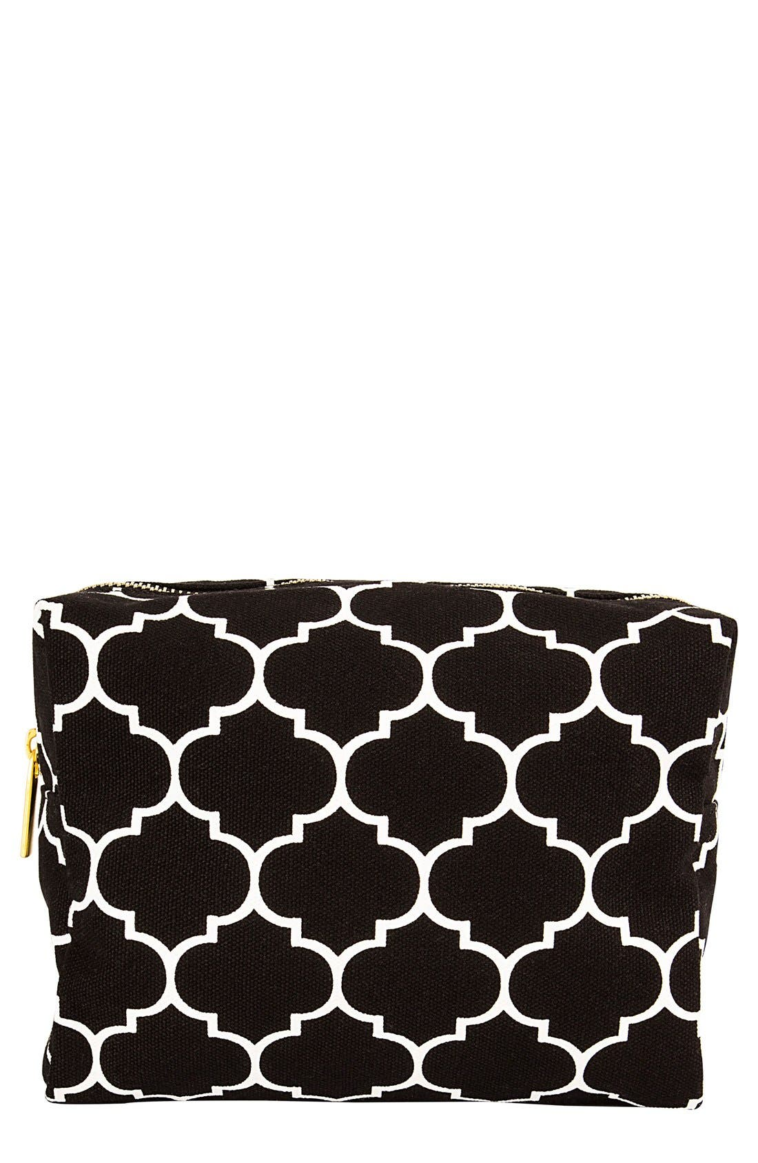 Monogram Cosmetics Bag,                         Main,                         color, BLACK