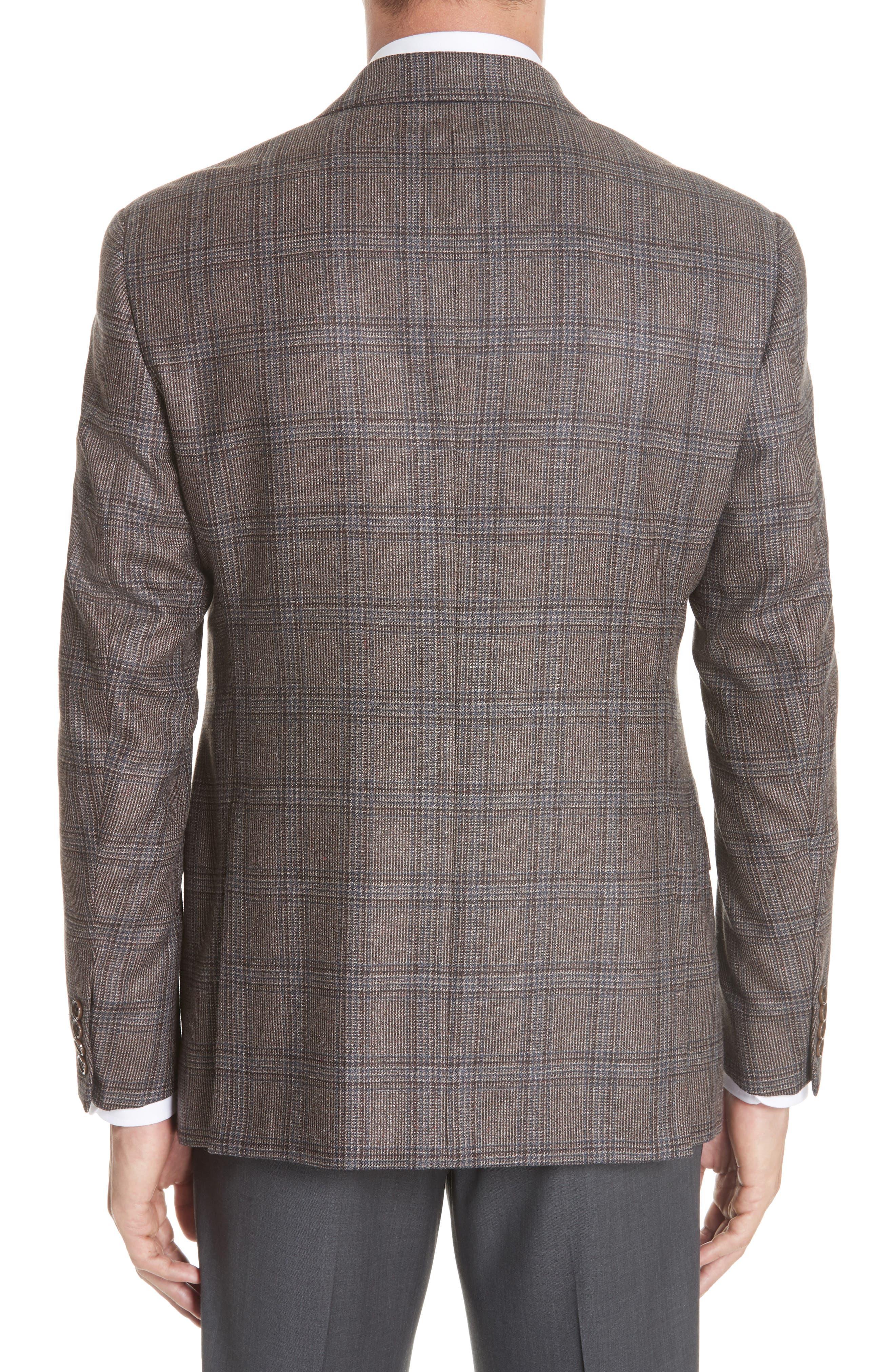 G Line Trim Fit Plaid Silk & Wool Sport Coat,                             Alternate thumbnail 2, color,                             BROWN