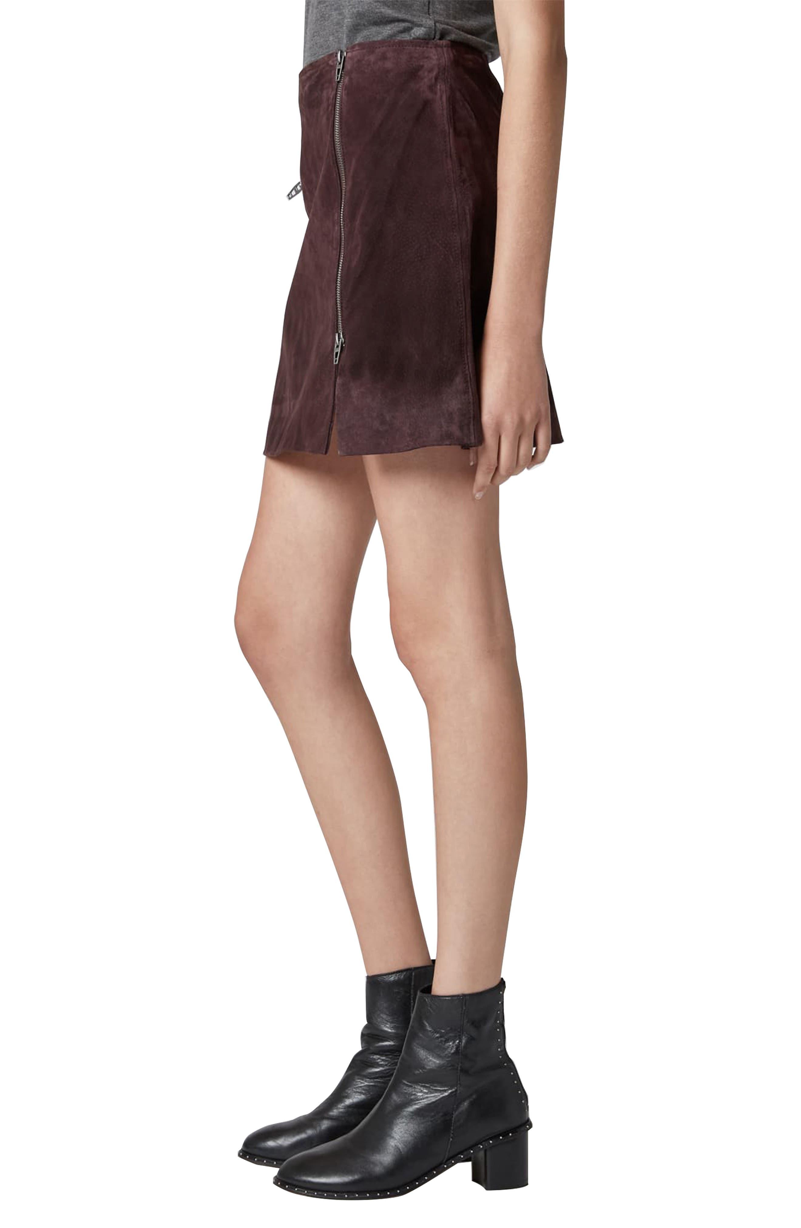 Suede Miniskirt,                             Alternate thumbnail 3, color,                             BLACKBERRY