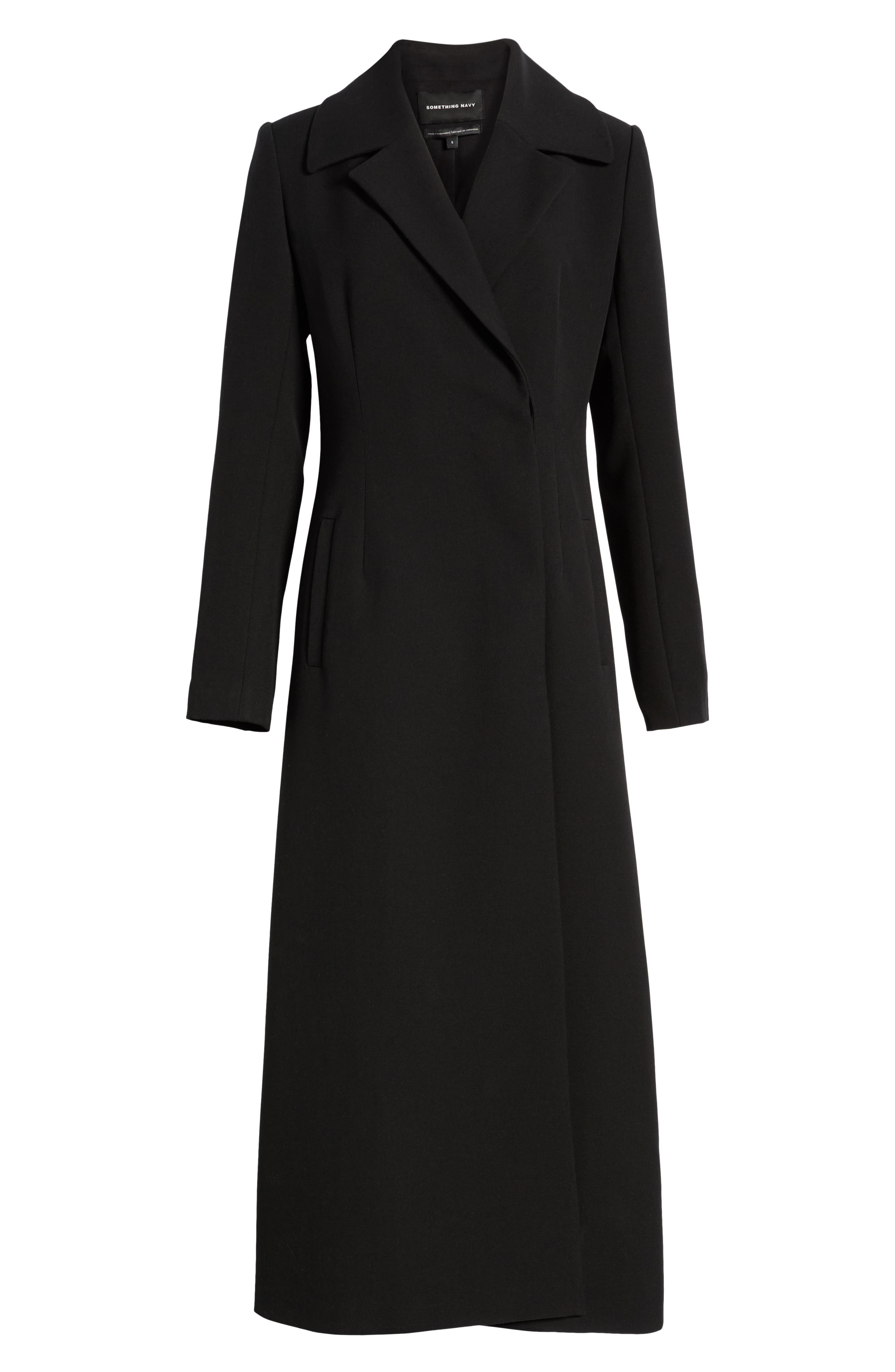 Long Feminine Coat,                             Alternate thumbnail 6, color,                             BLACK