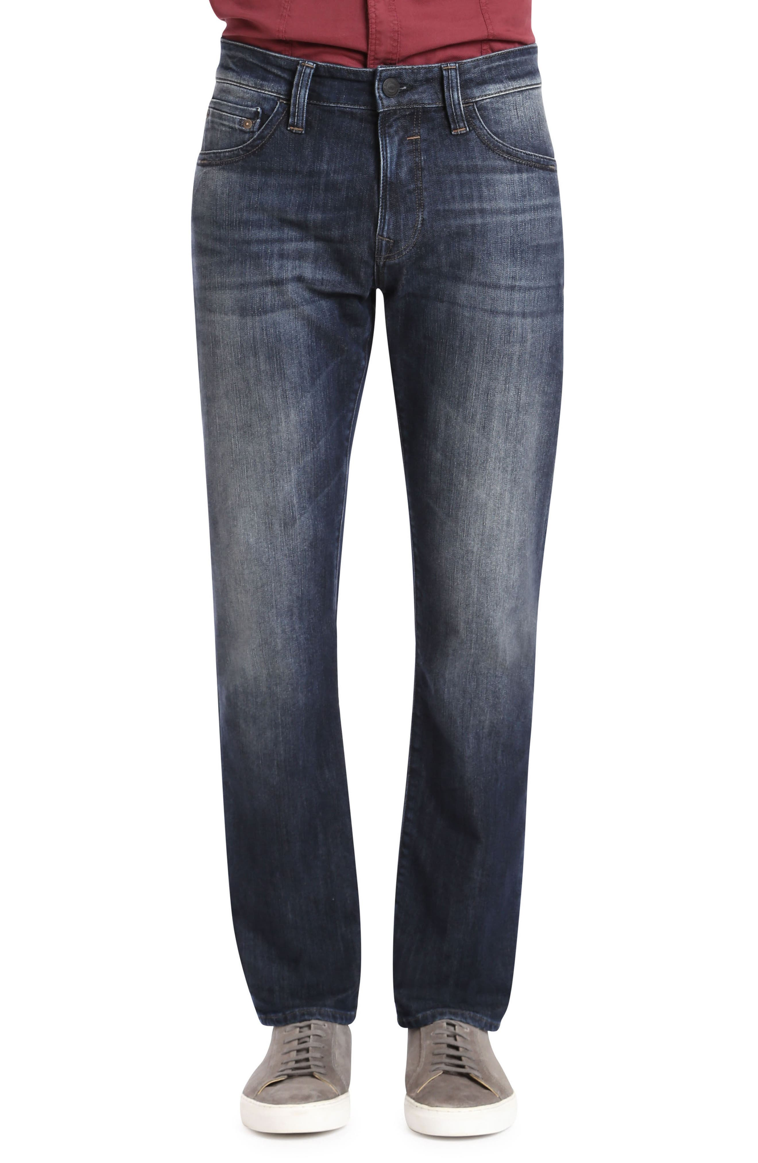 Zach Straight Leg Jeans,                             Main thumbnail 1, color,                             DEEP SHADED NEW YORK