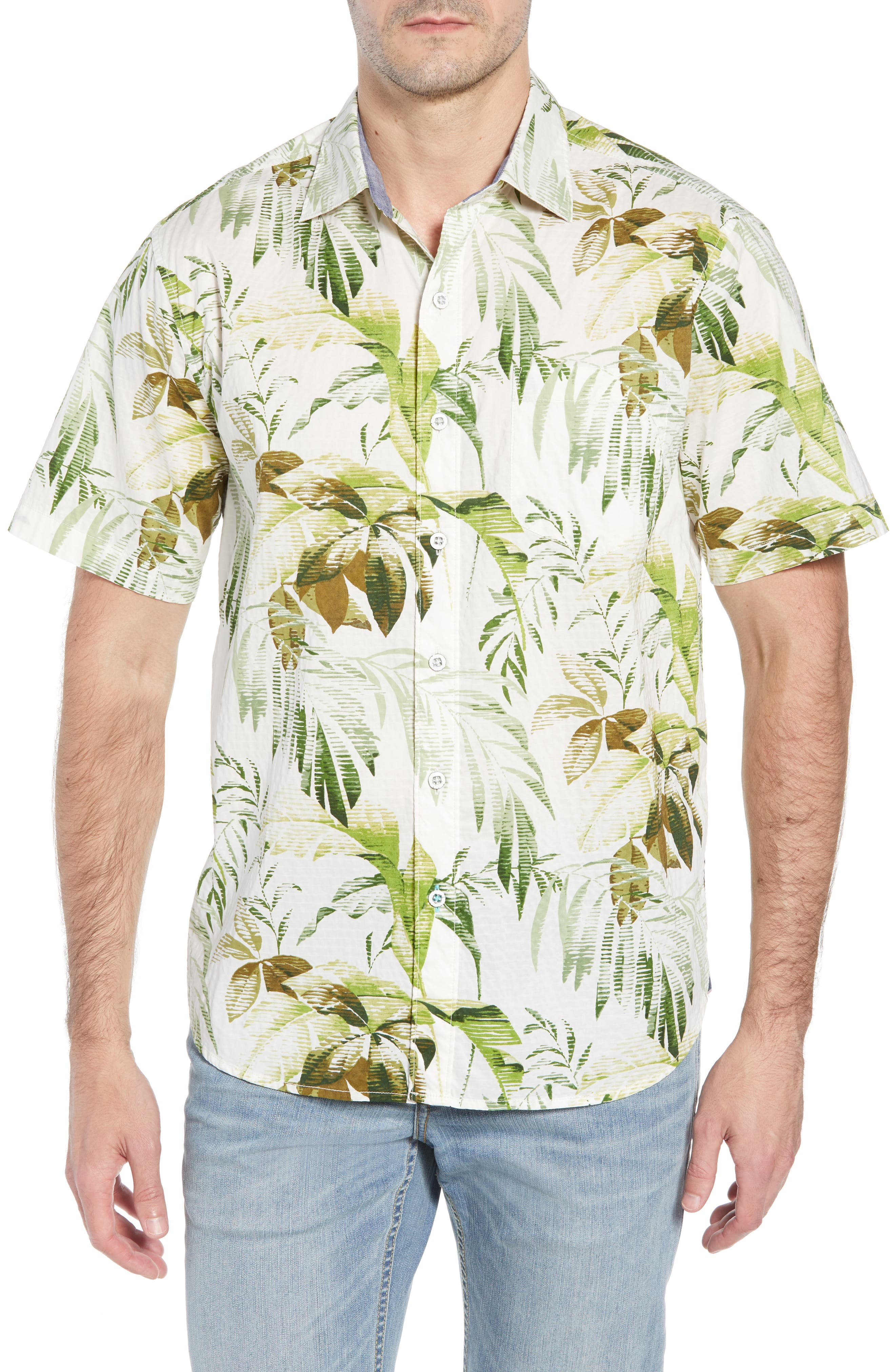 Don't Leaf Me Now Regular Fit Tropical Print Sport Shirt,                         Main,                         color, COCONUT CREAM