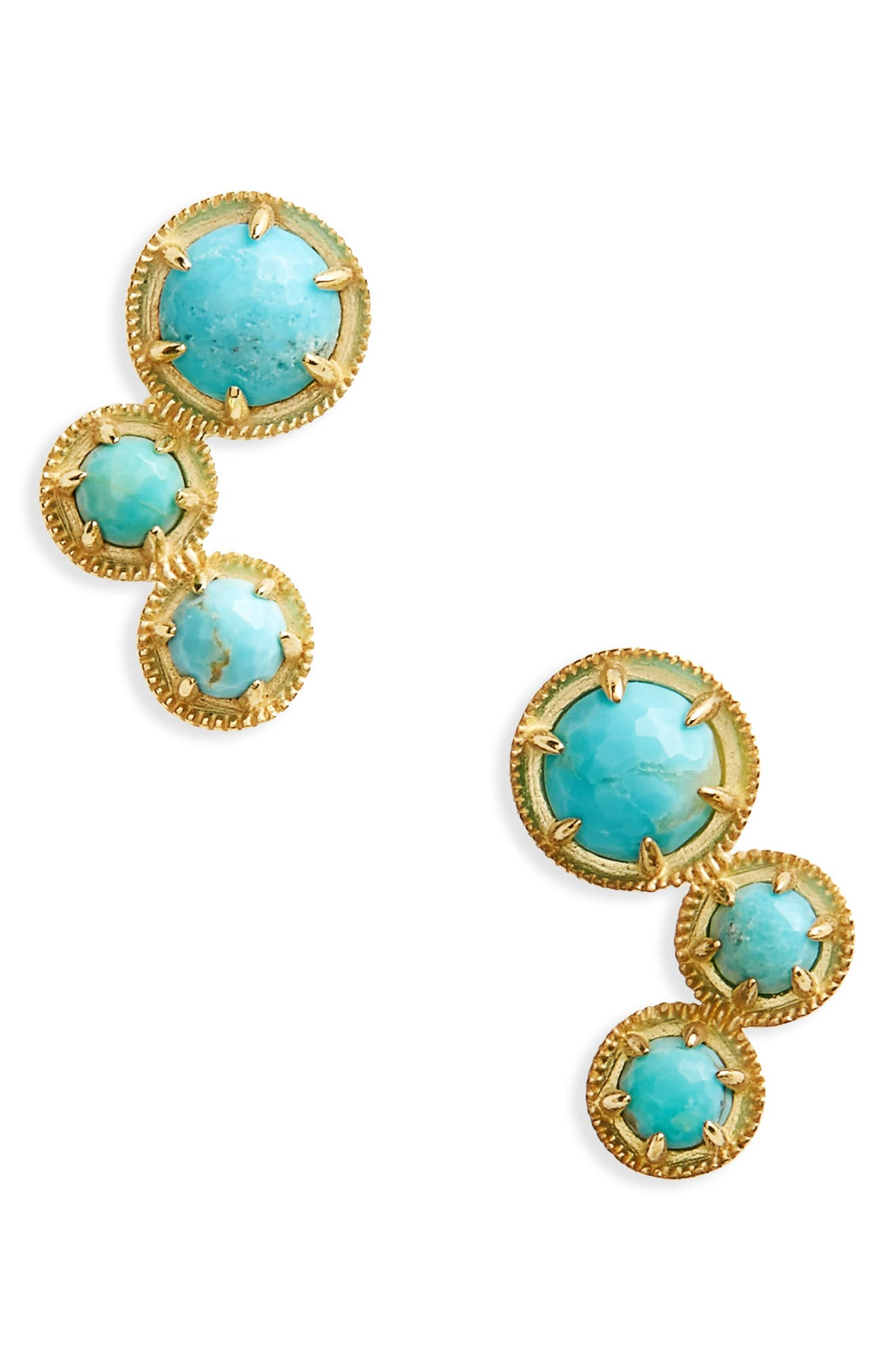 Cleo Doublet Ear Crawlers,                         Main,                         color, TURQUOISE/ GOLD