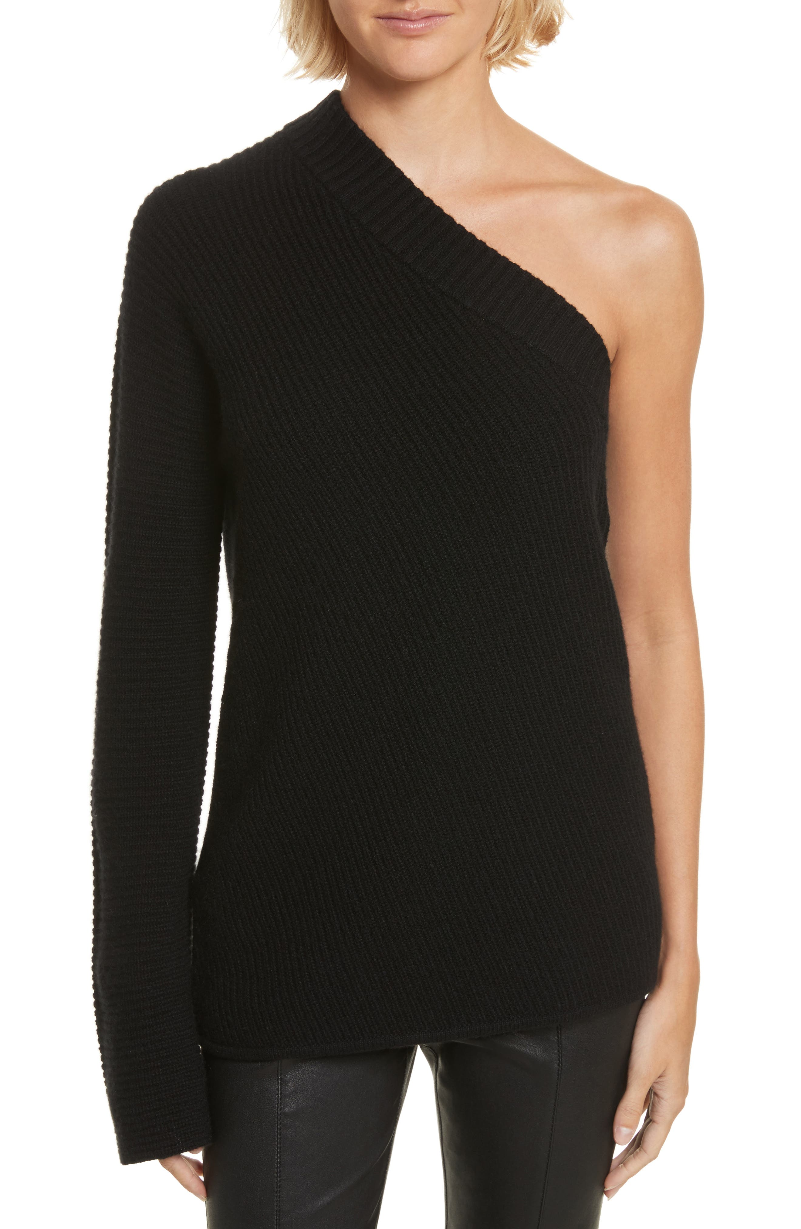 Tracey One Shoulder Wool & Cashmere Sweater,                         Main,                         color, 001